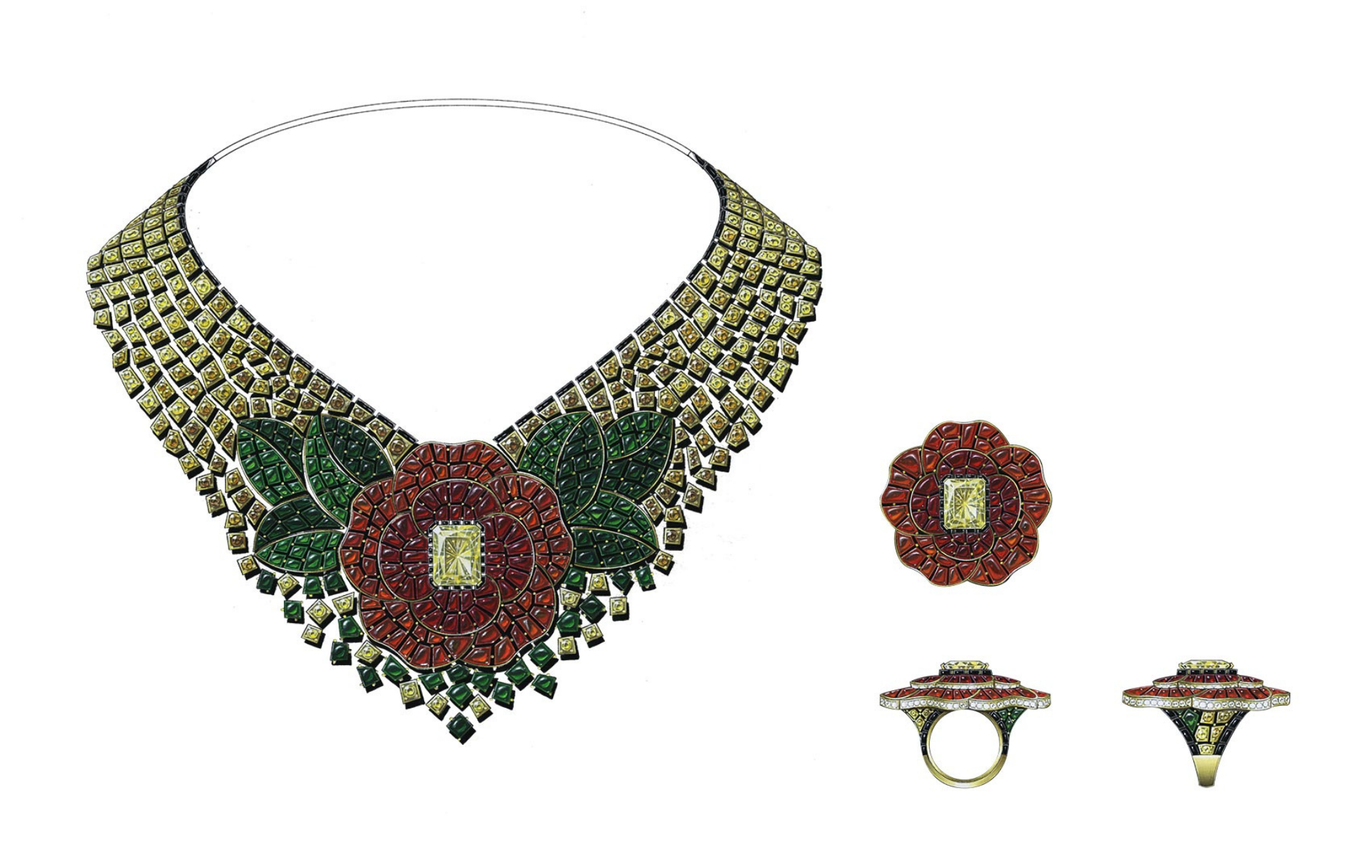 Camélia Byzantin necklace and ring with yellow diamonds, carnelians and fire opals