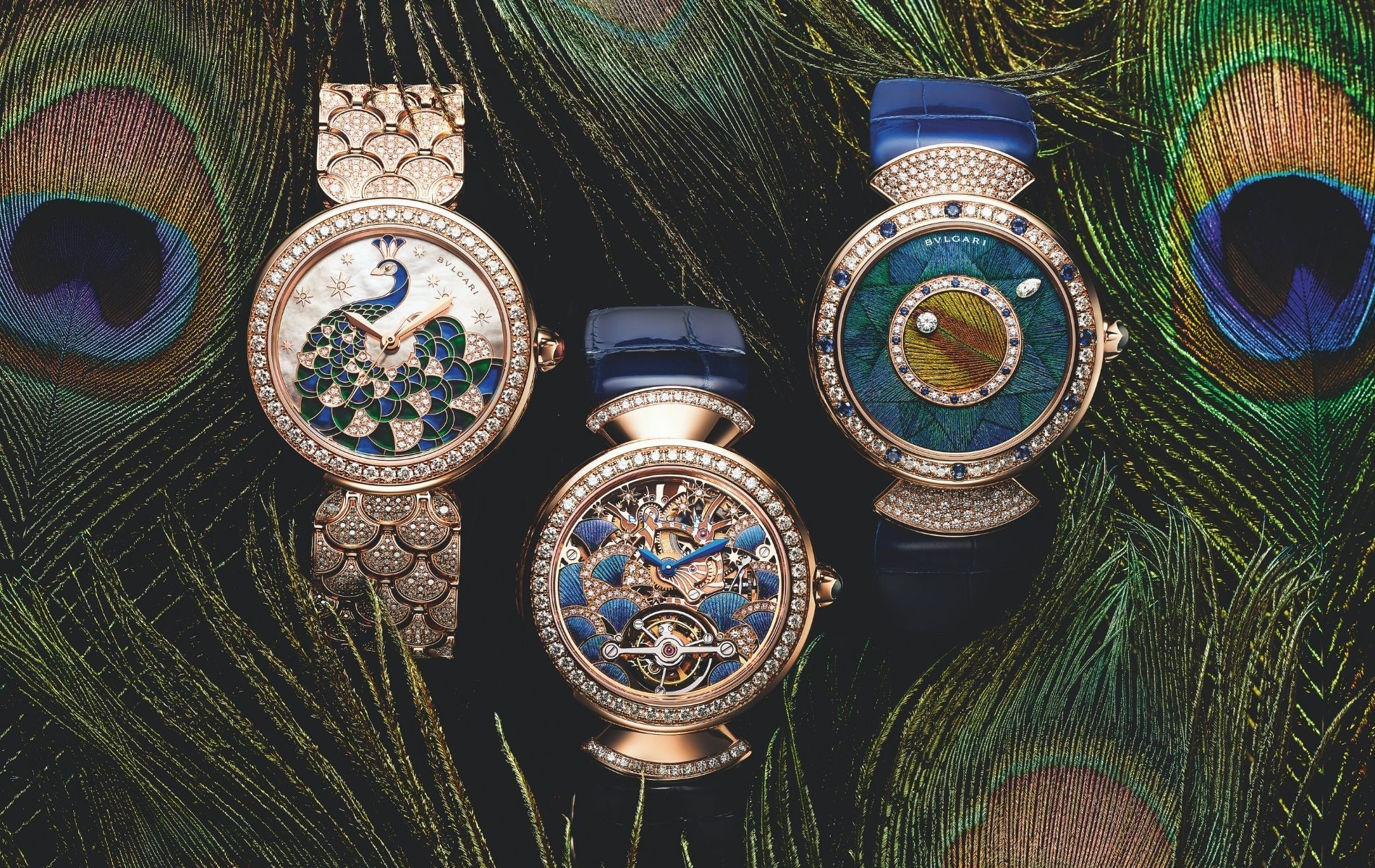 LVMH Watch Week 2021: These Gold Bulgari Watches Feature Actual Peacock Feathers
