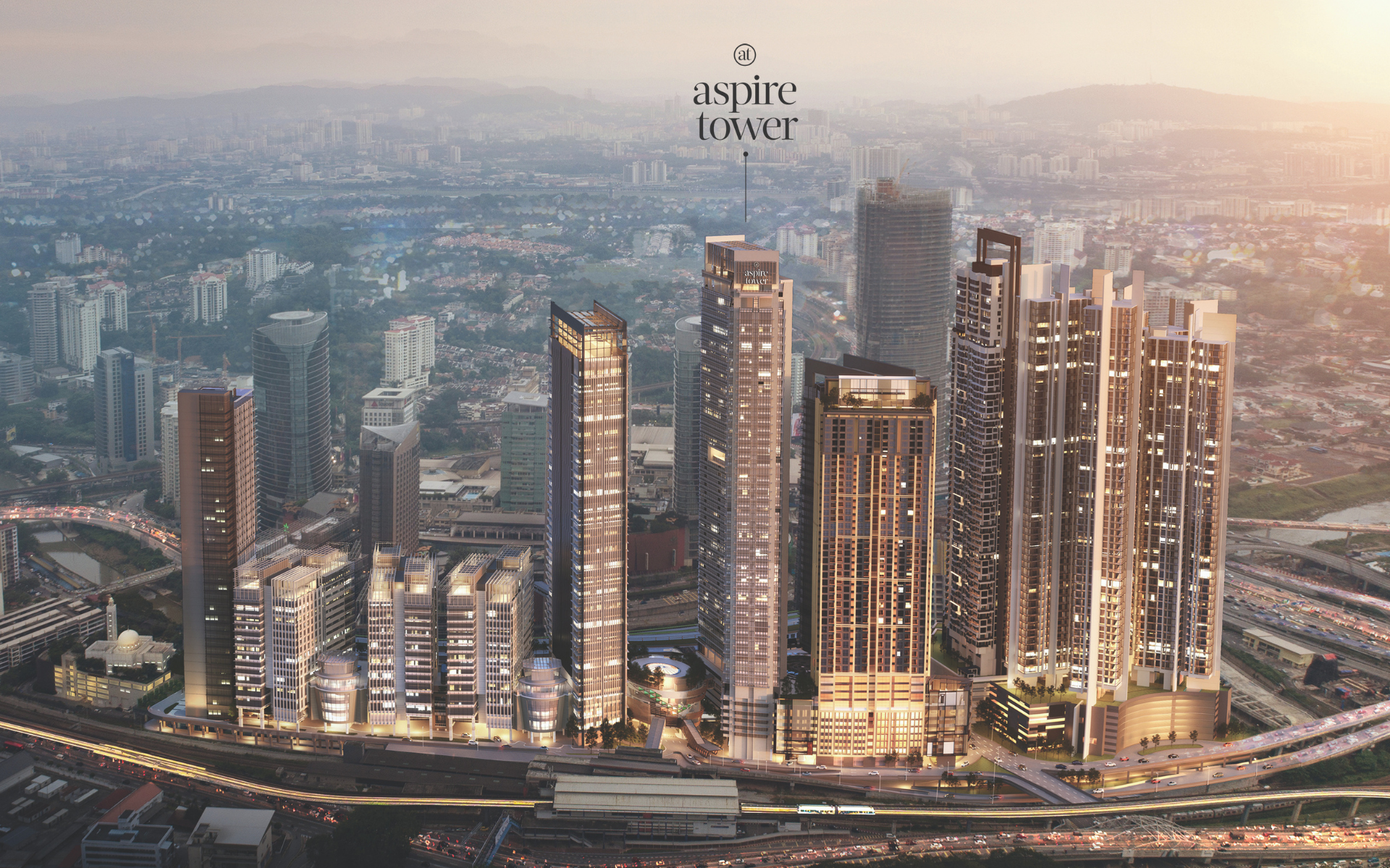 Aspire Tower is located at the heart of the 25-acre integrated mixed-use and transit-oriented development, KL Eco City