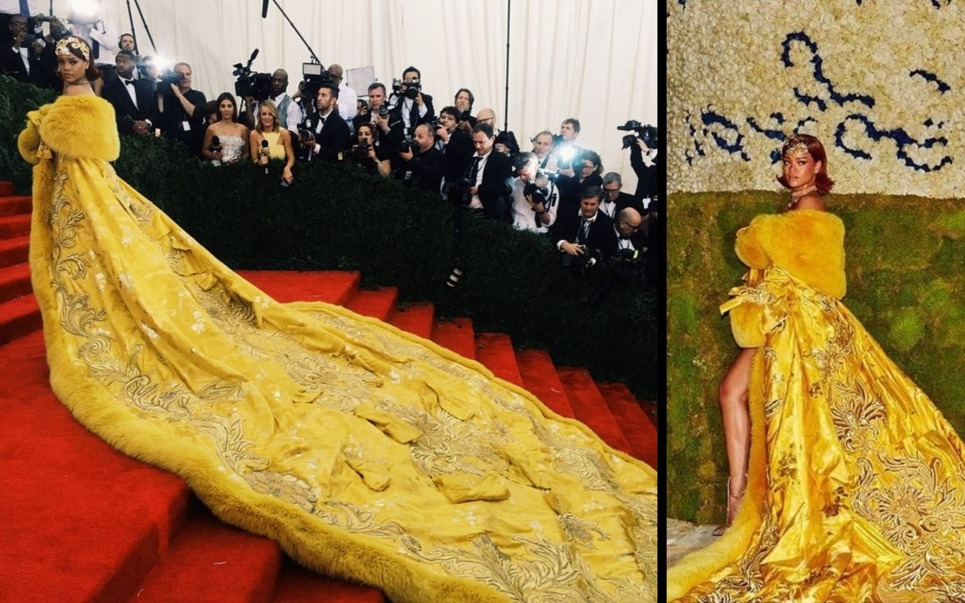 """Rihanna in Guo Pei at the 2015 Met Gala. The theme was """"China: Through the Looking Glass"""". (Photo: Instagram/@metmuseum and @badgalriri)"""