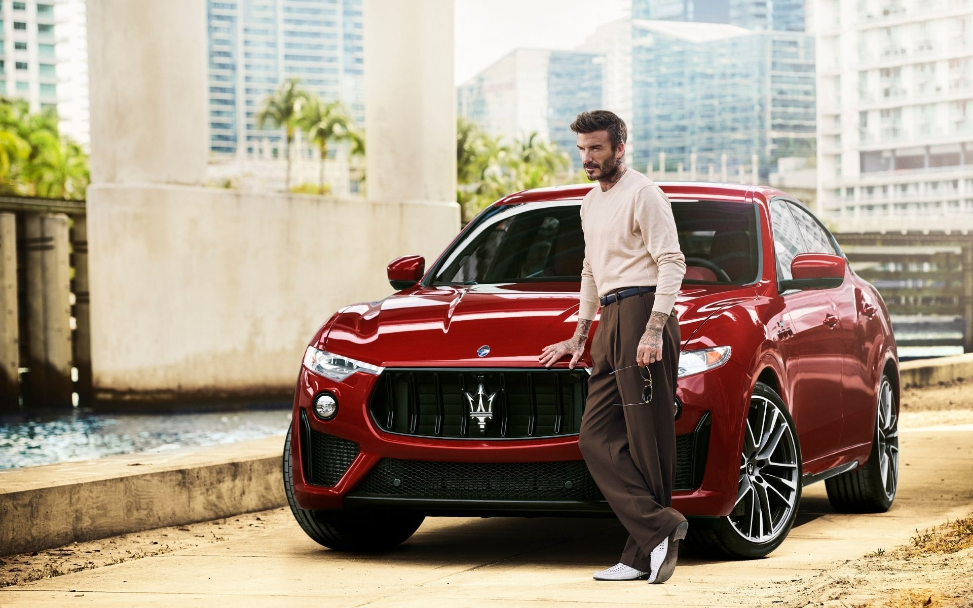 David Beckham and the Maserati Levante Trofeo SUV.