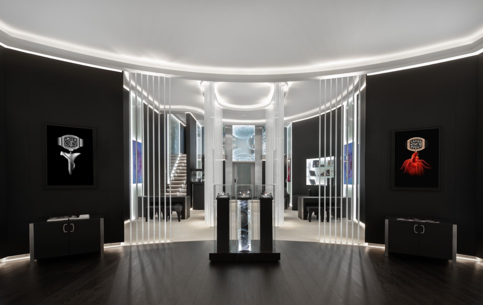Dark wood and leather juxtaposed against glass for a striking aesthetic