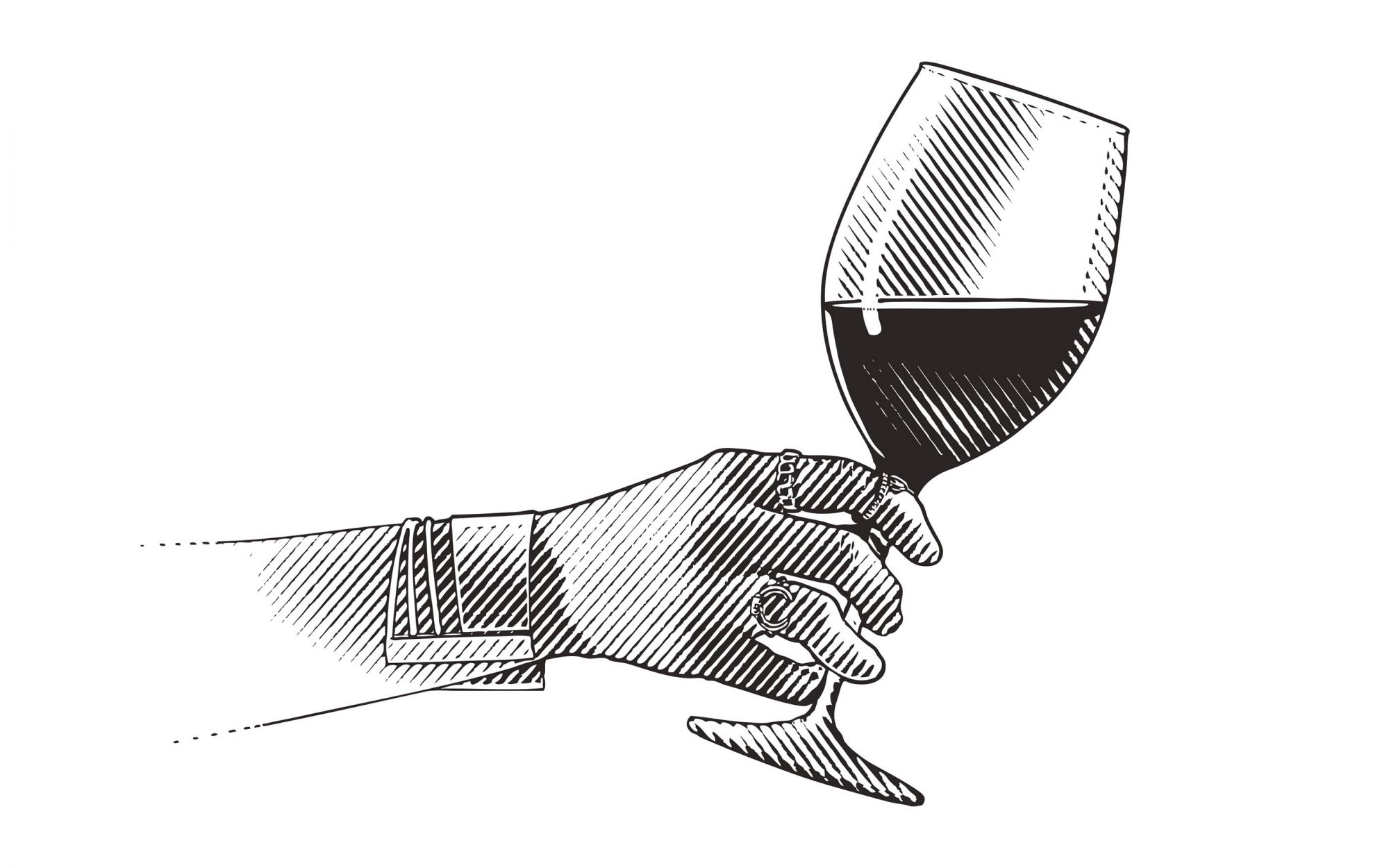 Engraving illustration Close up of glass of wine and woman's hand