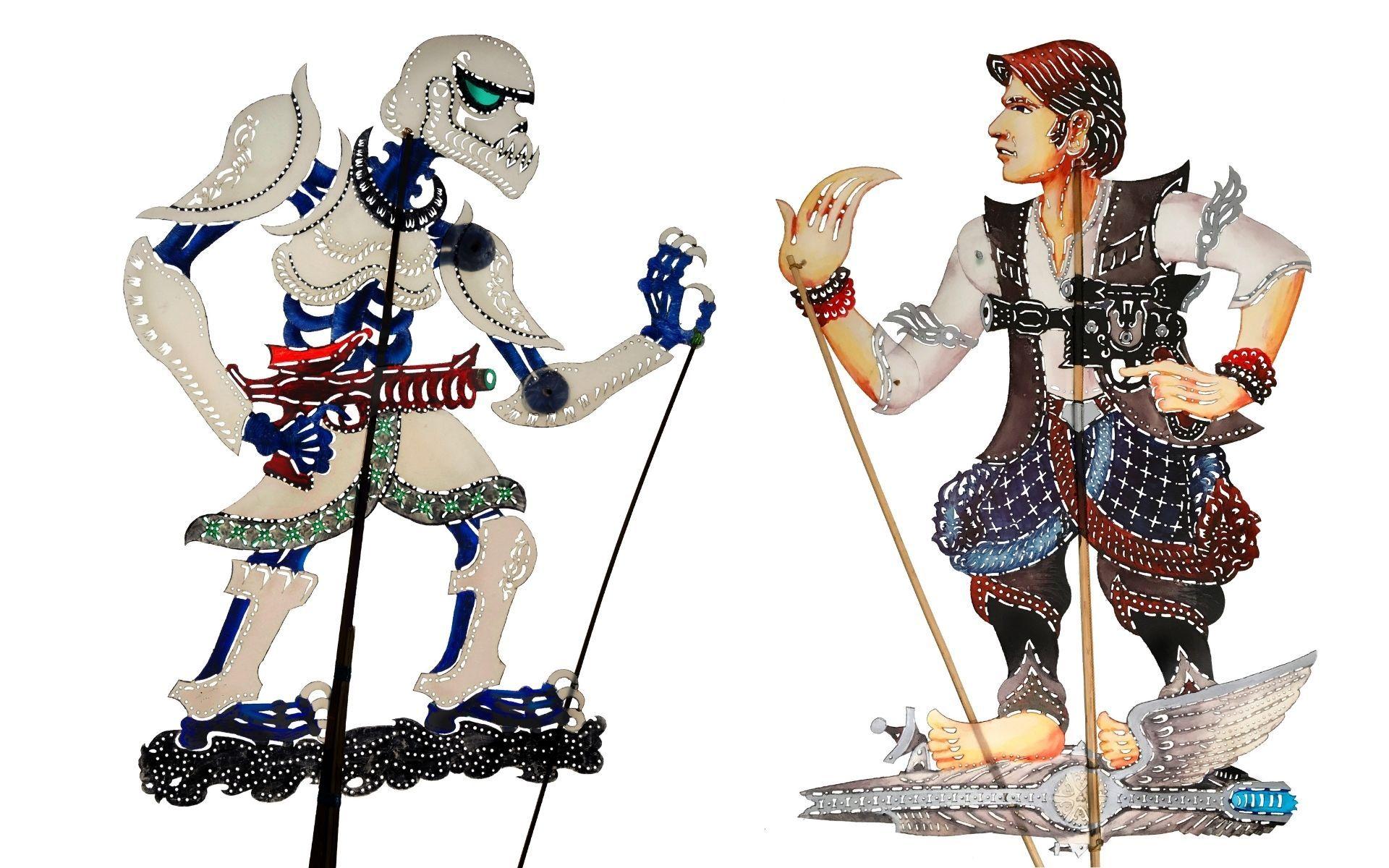 """""""Hulubalang Empayar"""" and """"Hans Solong"""" wayang kulit puppets"""