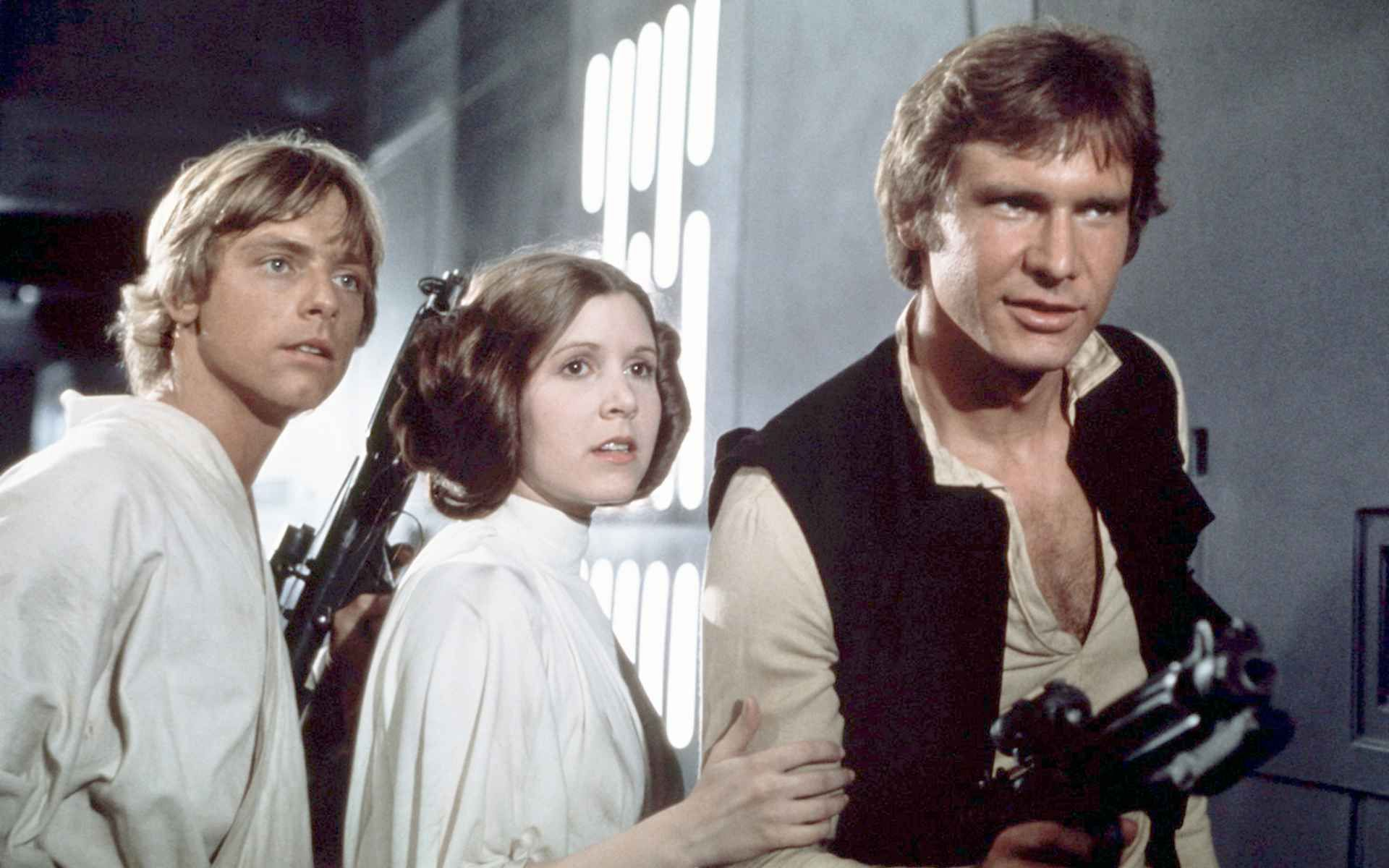 Mark Hamill, Carrie Fisher and Harrison Ford Star Wars A New Hope