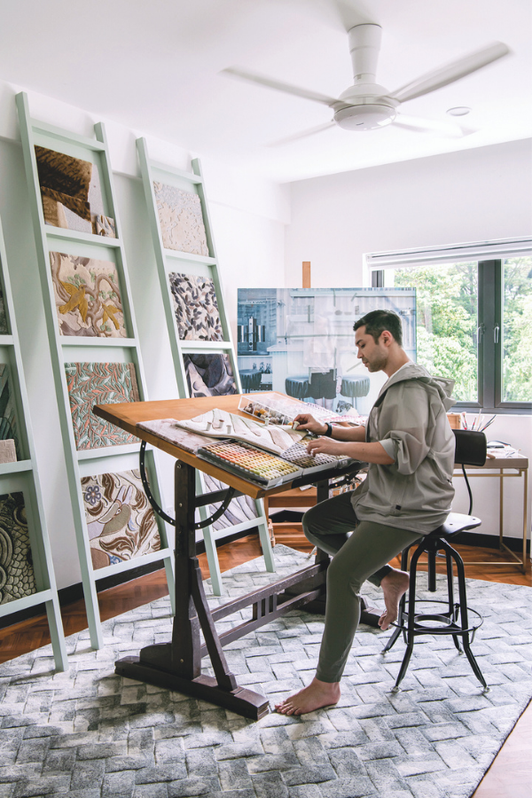 The designer at work in his light-filled studio (Photo: David Yeow Photography)