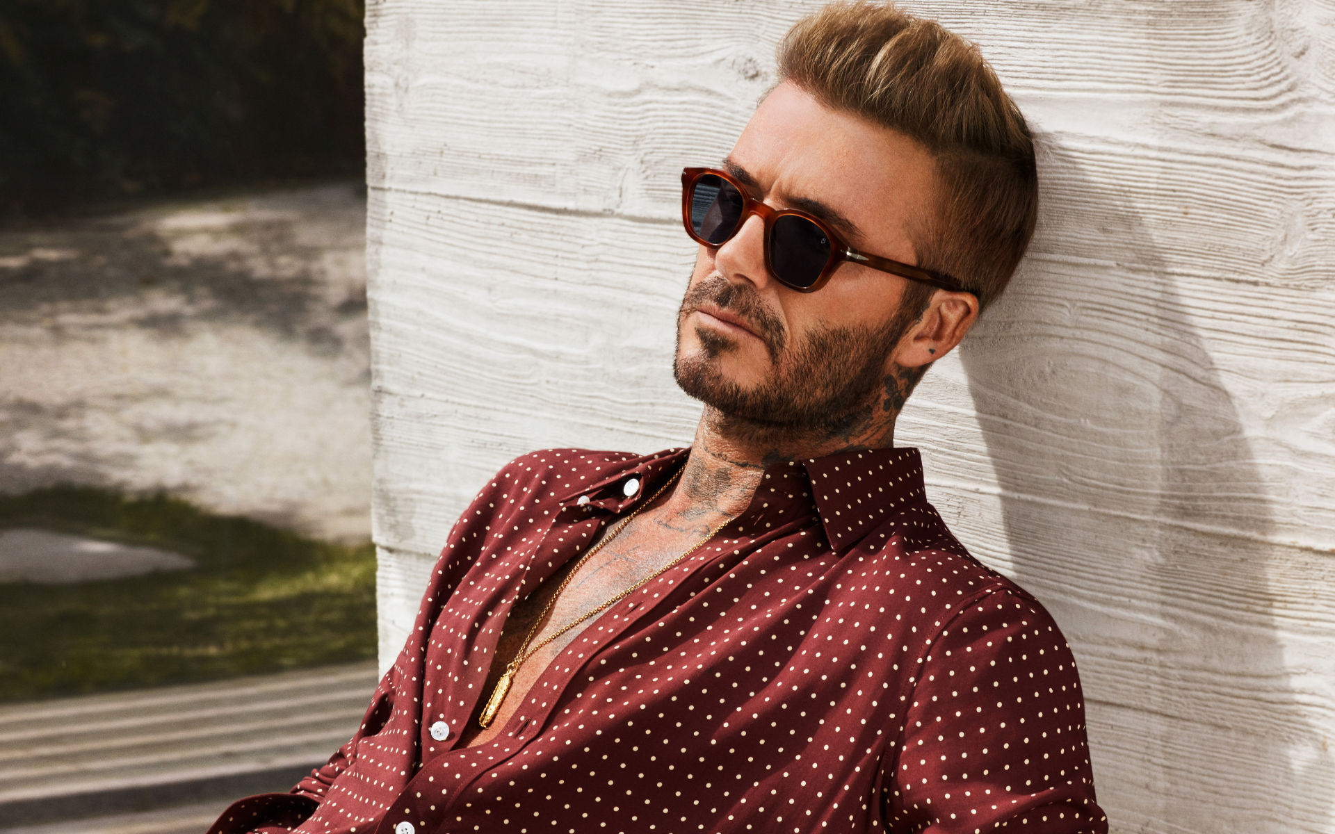 David Beckham modelling sunglasses from his own label (Photo: Safilo)