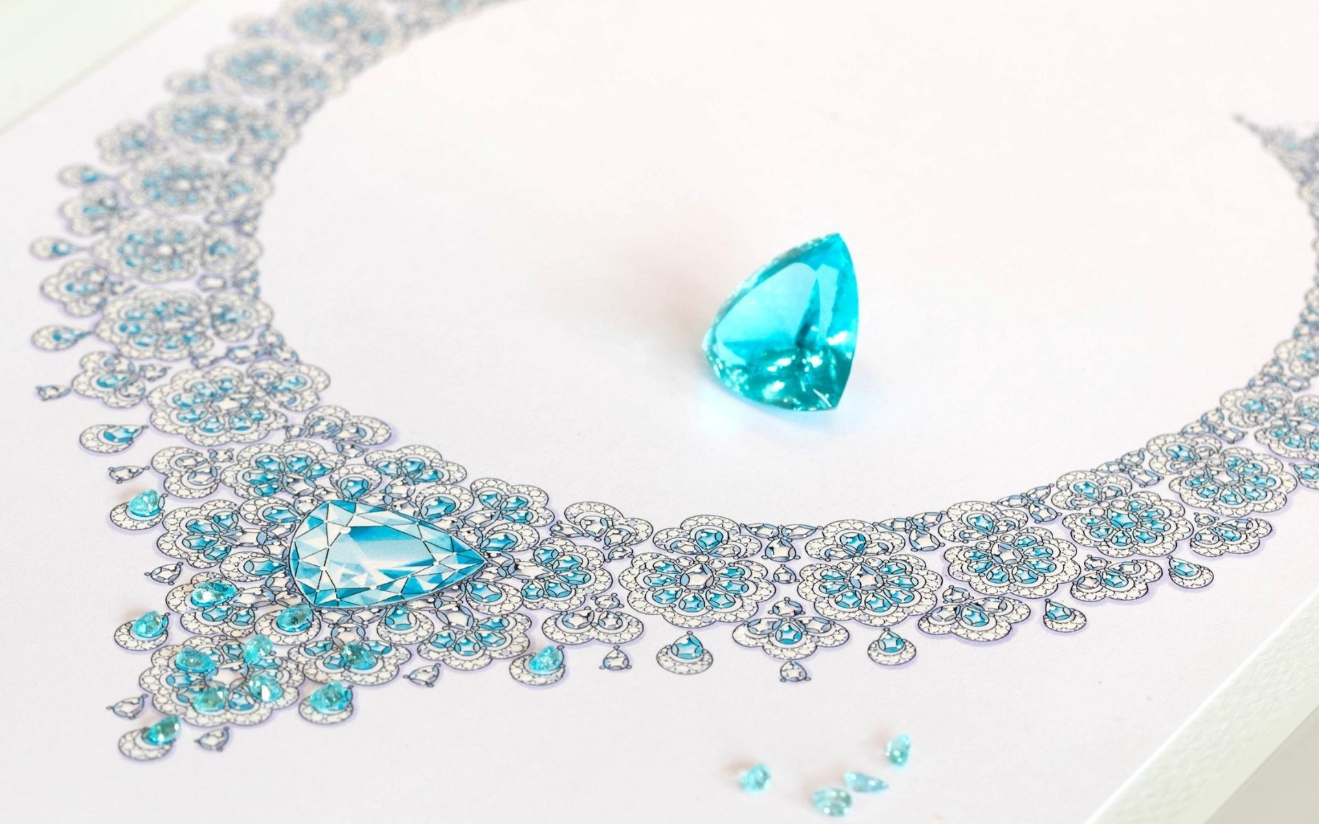 The star of the Majestic Paraiba Tourmaline Necklace is a gorgeous 34.63-carat Paraiba tourmaline from Mozambique.