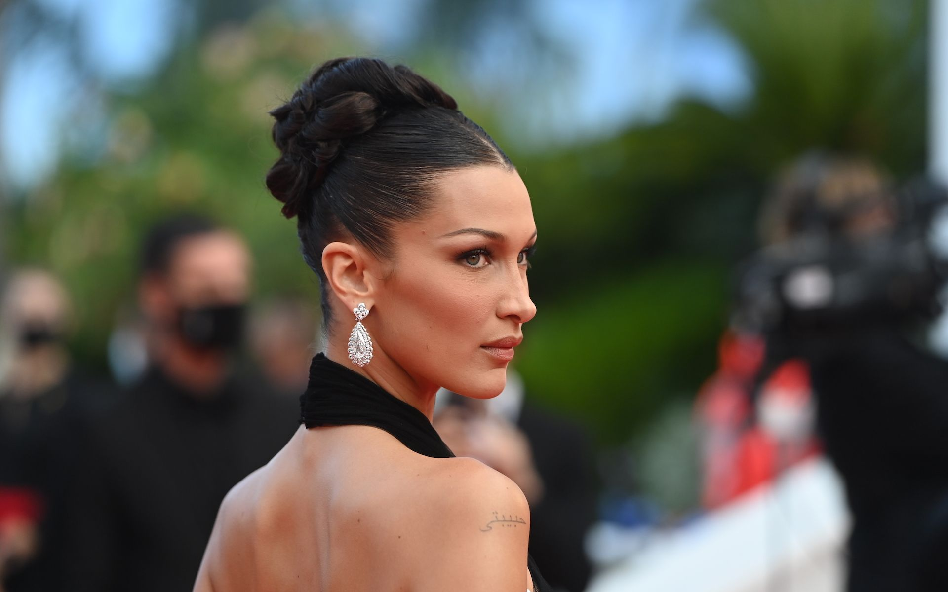 """CANNES, FRANCE - JULY 06: Bella Hadid attends the """"Annette"""" screening and opening ceremony during the 74th annual Cannes Film Festival on July 06, 2021 in Cannes, France. (Photo by Kate Green/Getty Images)"""