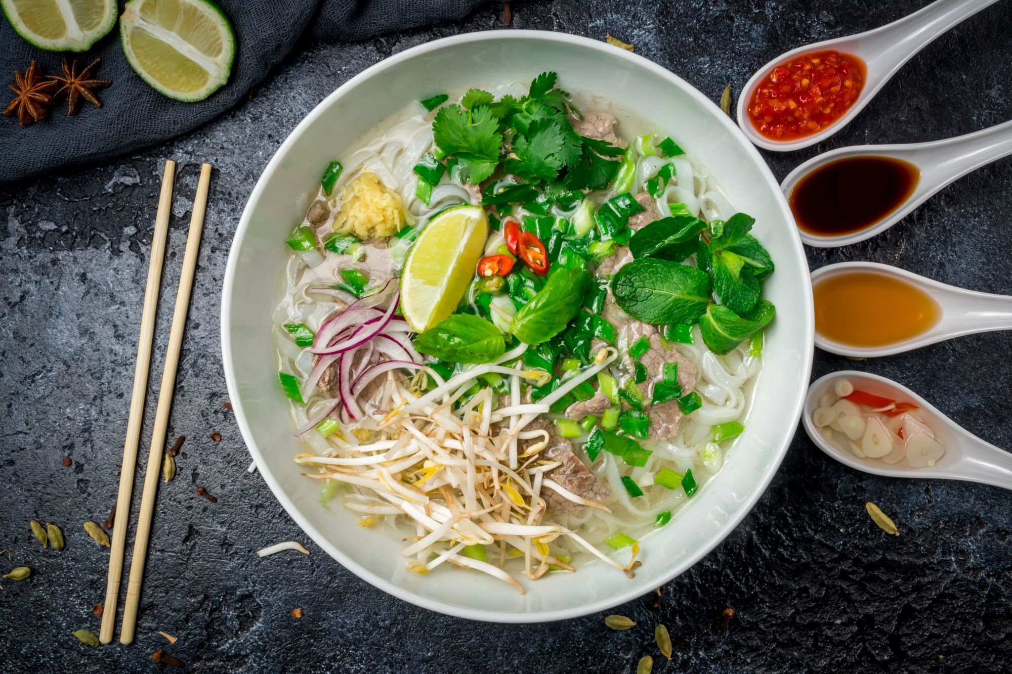 Pho, a noodle soup dish usually made with beef-bone broth, is the national dish of Vietnam