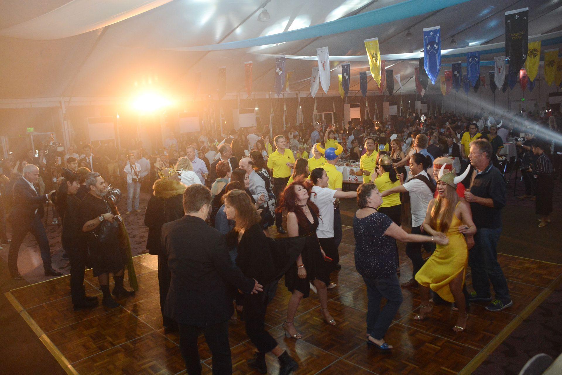 The crowd hitting the dance floor