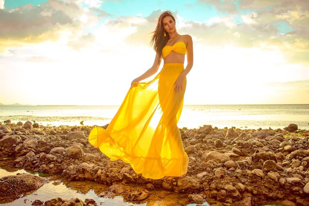 Image result for catriona gray in yellow dress pic