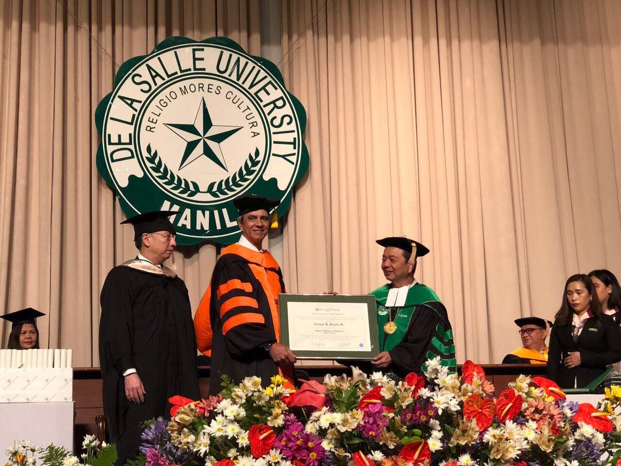 Enrique Razon, Jr, receives honorary doctorate from DLSU