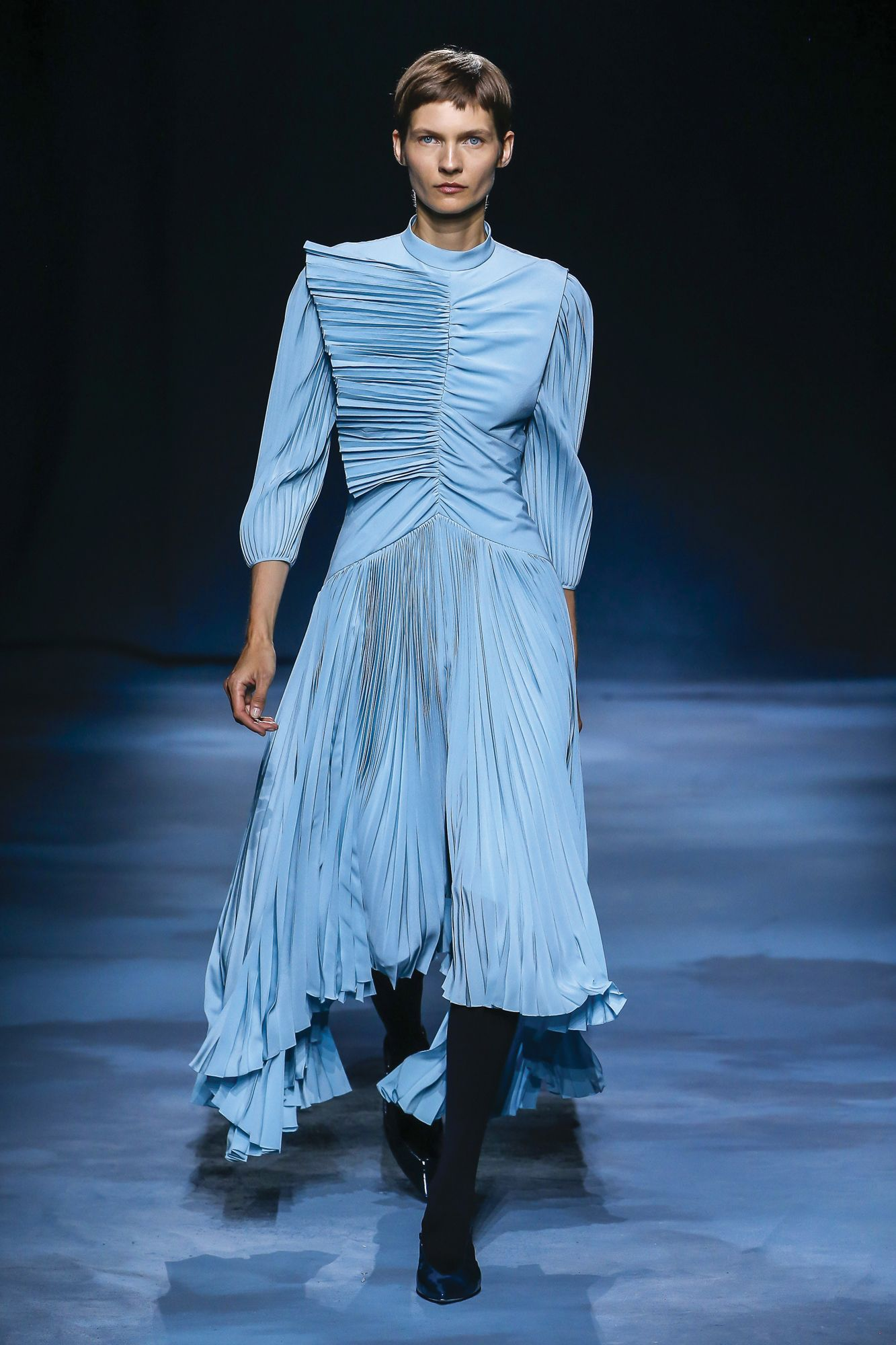 GIVENCHY | Asymmetrical pleated dress from the spring/summer 2019 runway