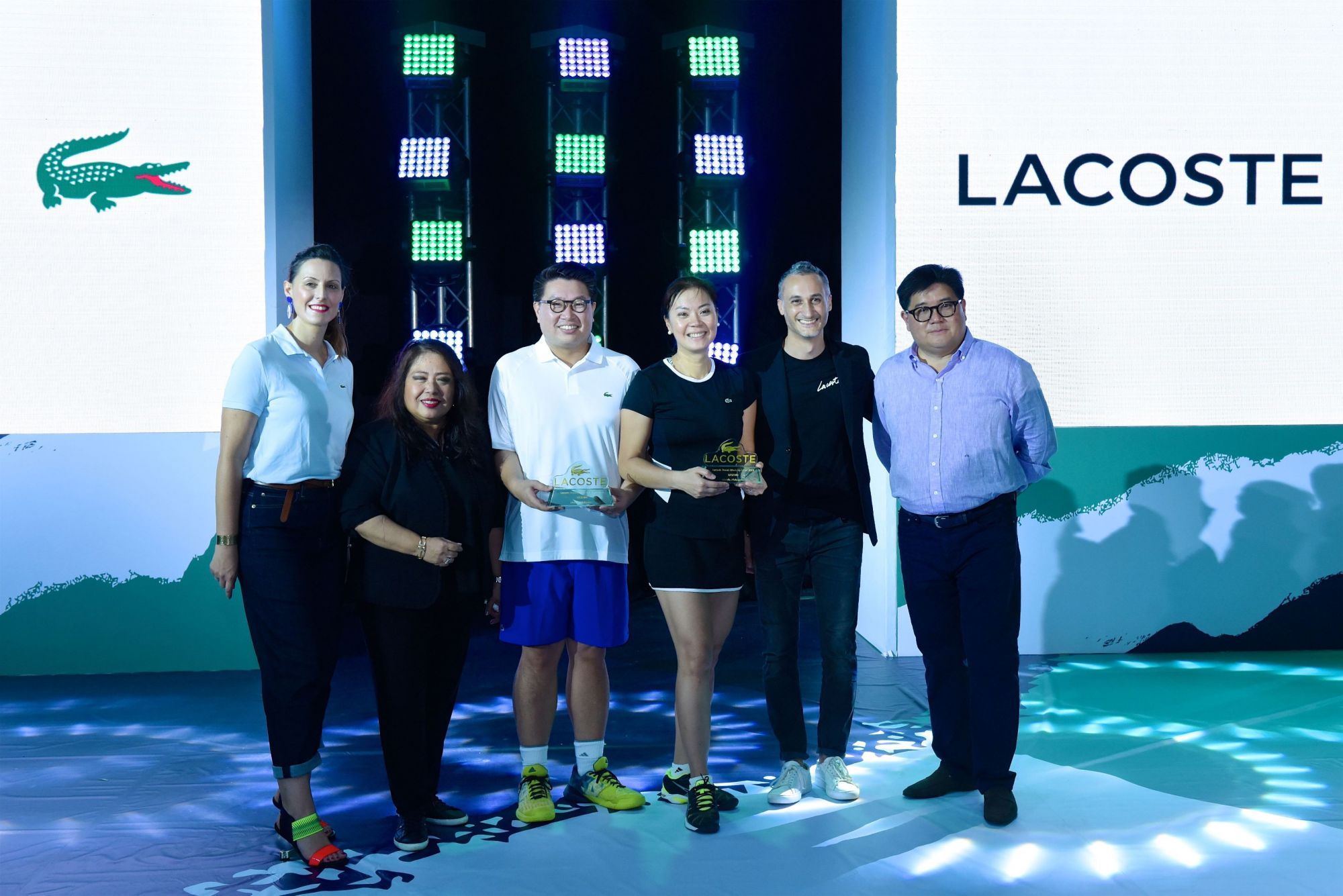 Lacoste SA Marketing Director Jessy Baretta, SSI Group, Inc. Executive Vice President Elizabeth Quiambao, Hanky Lee, Ninay Morales, Lacoste SA Commercial Director Alessandro Tomio, and SSI Group, Inc. President Anton Huang