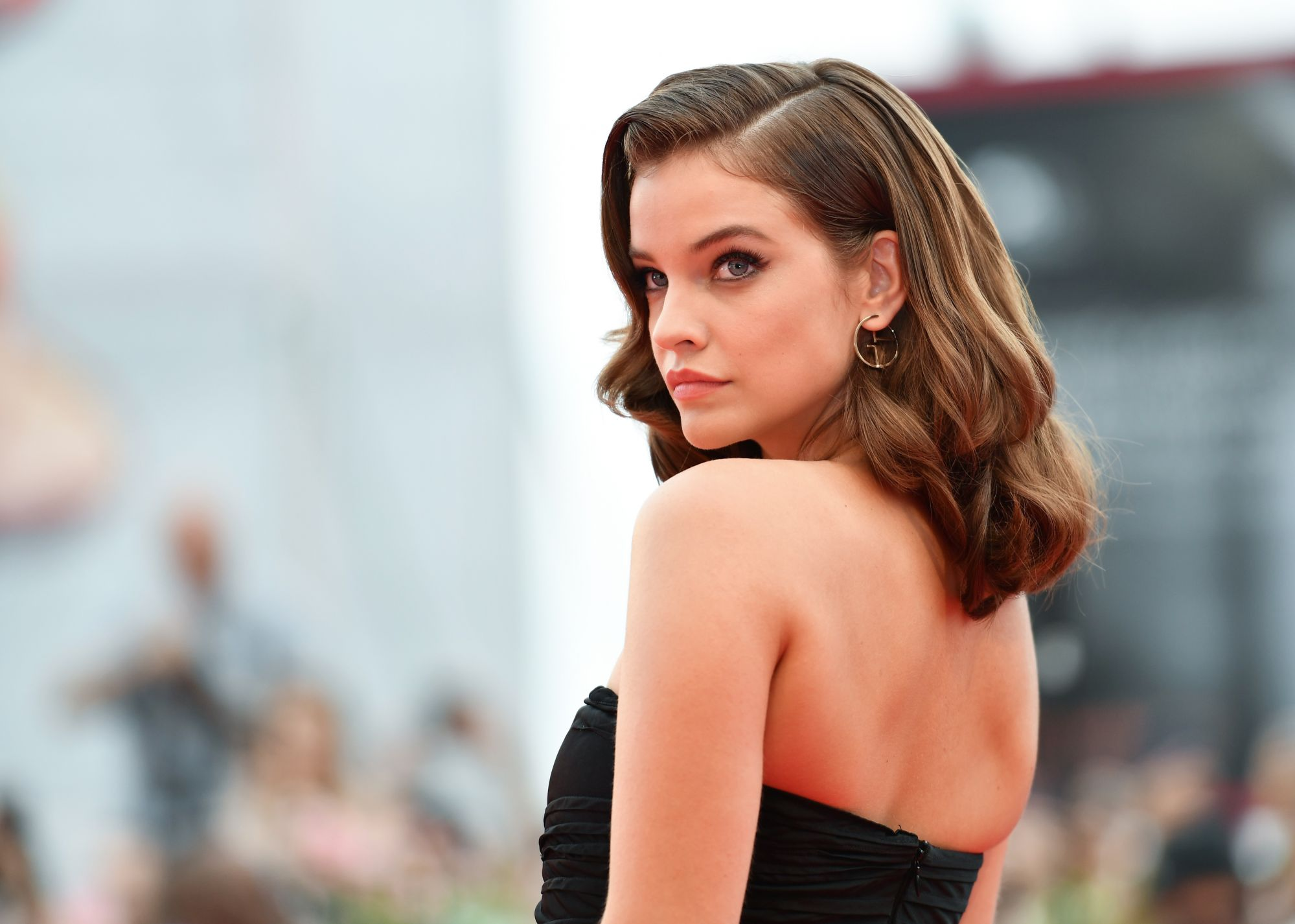 "Hungarian model Barbara Palvin poses as she arrives for the opening ceremony and the screening of the film ""La Verite"" (The Truth) presented in competition on August 28, 2019 during the 76th Venice Film Festival at Venice Lido. (Photo by Alberto PIZZOLI / AFP)"