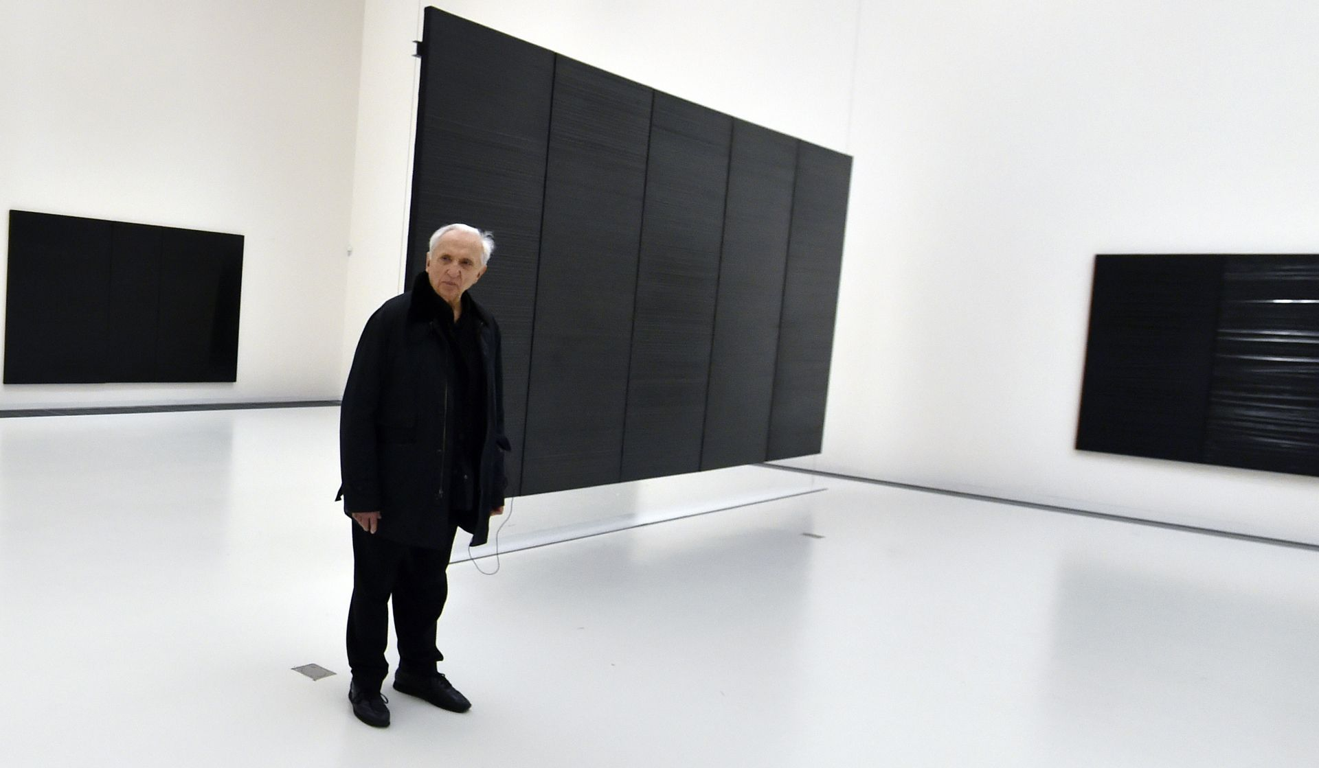 An exhibition of French artist Pierre Soulages opened in New York on Thursday just months before his work will be showcased in the Louvre to celebrate his 100th birthday.  © AFP PHOTO/ PASCAL PAVANI