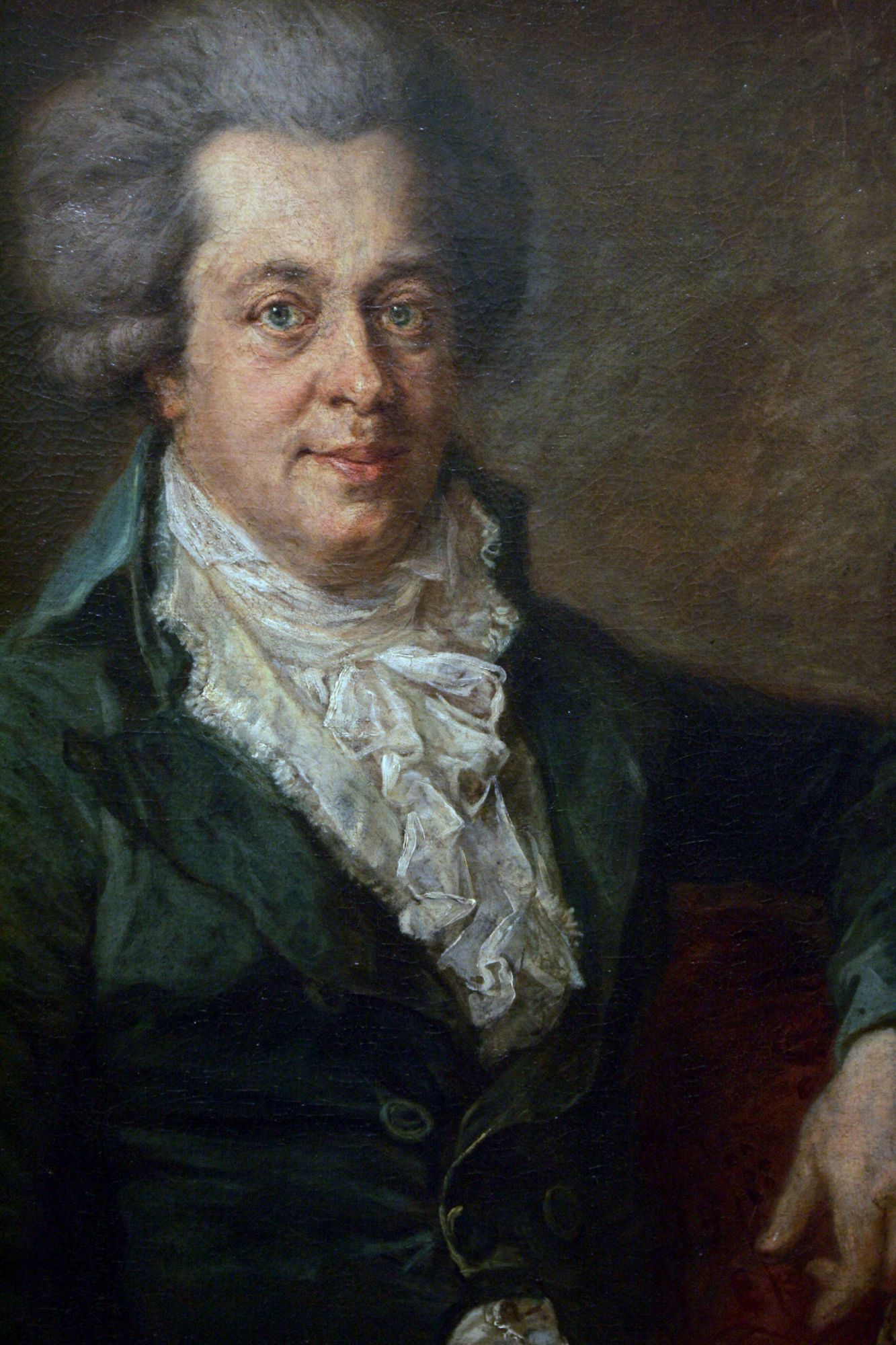 FOR USE EXCLUSIVELY WITH STORIES ON EDLINGER'S PAINTINGA portrait of Austrian Composer Wolfgang Amadeus Mozart (1756-1791) by German painter Johann Edlinger hangs in Berlin's Gemaeldegalerie 20 December 2005. The portrait, painted in 1790, is allegedly the last depiction of Mozart before his death. The painting was re-discovered in 1999, and has sparked controversy as not all specialists believe it depicts the Austrian composer. AFP PHOTO JOHN MACDOUGALL