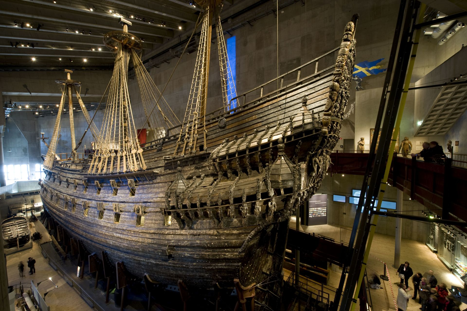 TO GO WITH AFP STORY BY FRANCOIS CAMPREDONThe Vasa is displayed at the Vasa Museum in Stockholm,on April 8, 2011.  Sweden's 17th century royal warship Vasa, which sank in 1628 and was brought to the surface three centuries later, on Thursday began undergoing a major refurbishment, museum officials said.  AFP PHOTO/JONATHAN NACKSTRAND