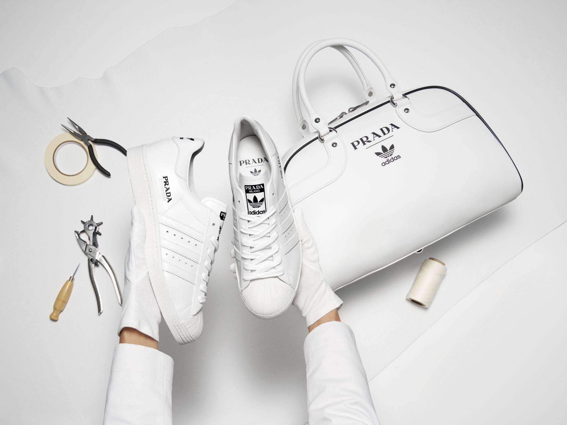 The Prada for adidas Originals Superstar sneakers and carryall bag.  © Courtesy of Prada x adidas Originals
