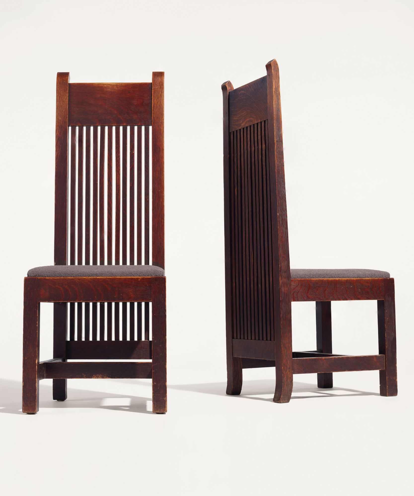 Two sets of chairs designed by architect Frank Lloyd Wright for the Ward W Willits House will be auctioned at Christie's in December.  © Courtesy of Christie's