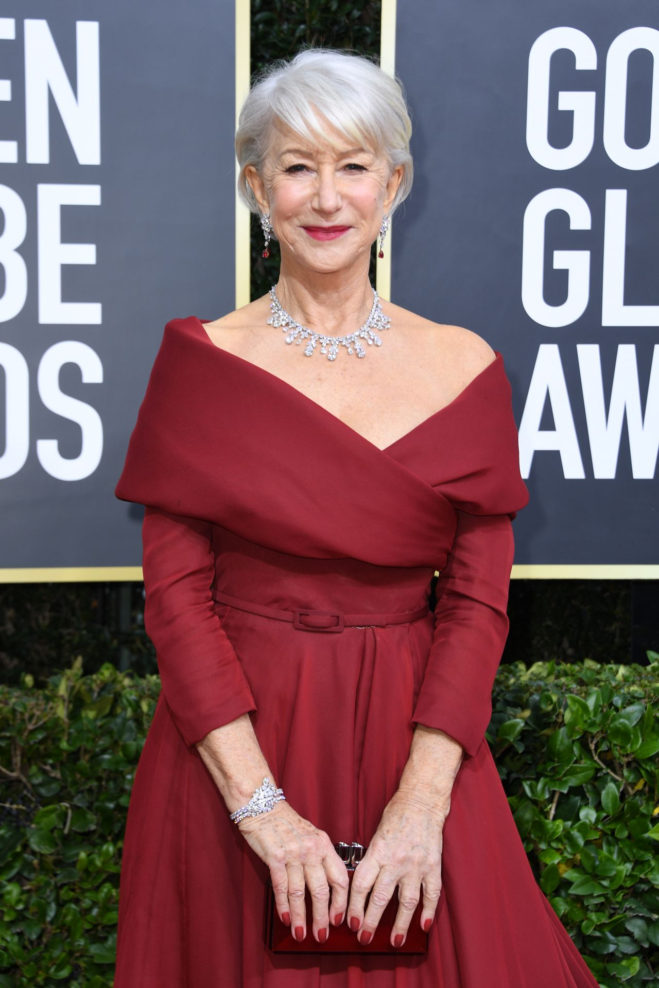 British actress Helen Mirren arrives for the 77th annual Golden Globe Awards on January 5, 2020, at The Beverly Hilton hotel in Beverly Hills, California. (Photo by VALERIE MACON / AFP)