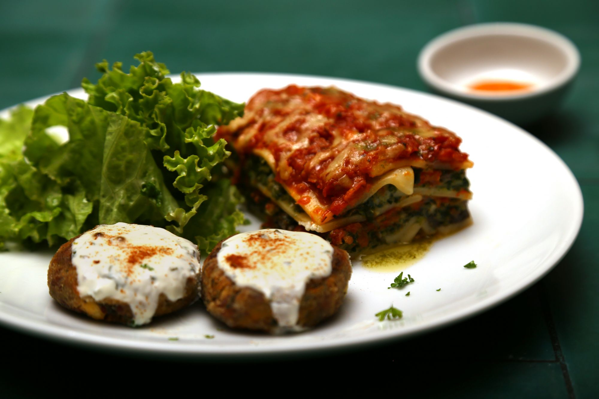 Spinach and Mushroom Lasagne, and Spinach Feta Croquettes with Salad on the side