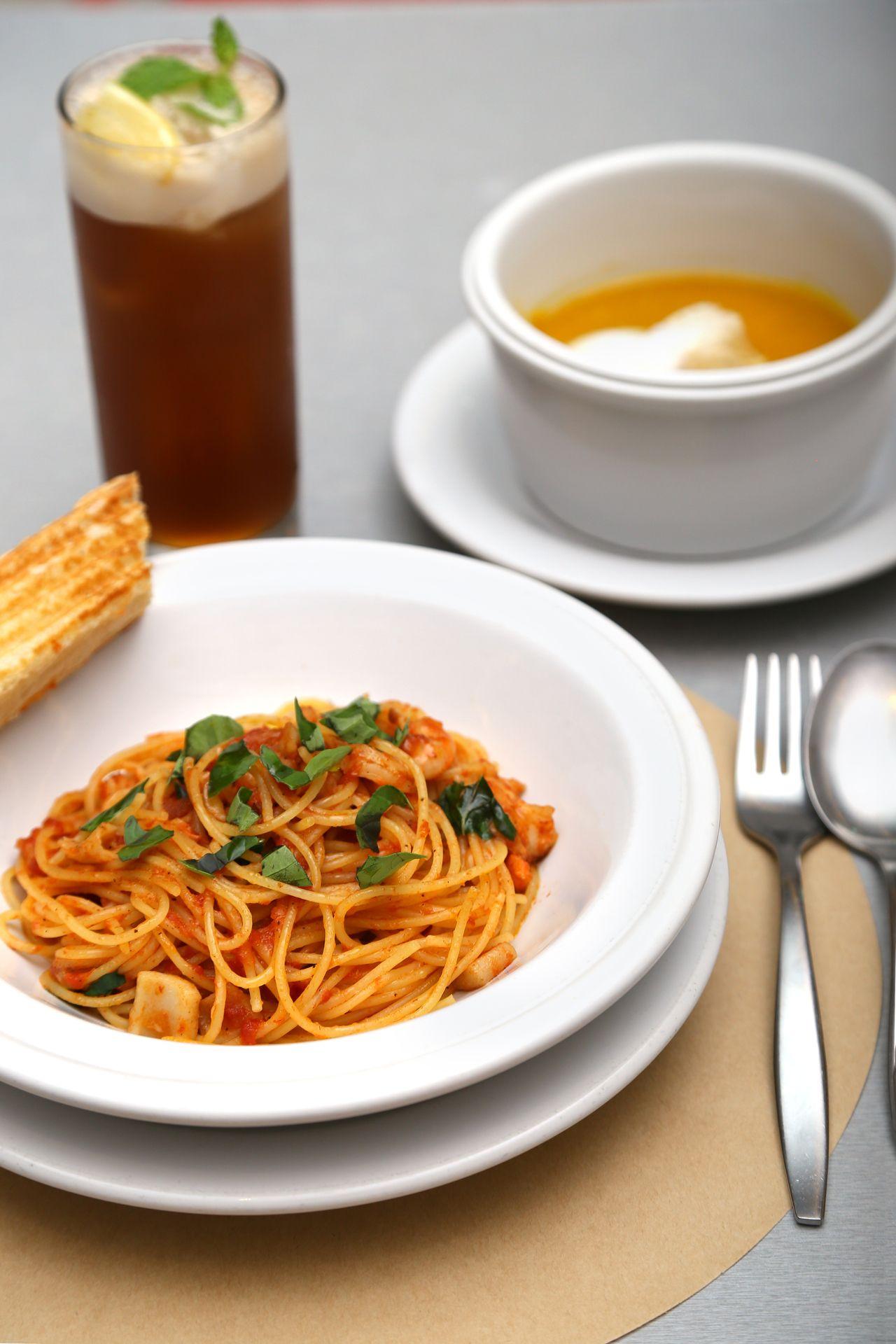 Crema di Zucca and Spaghettini alla Pescatora