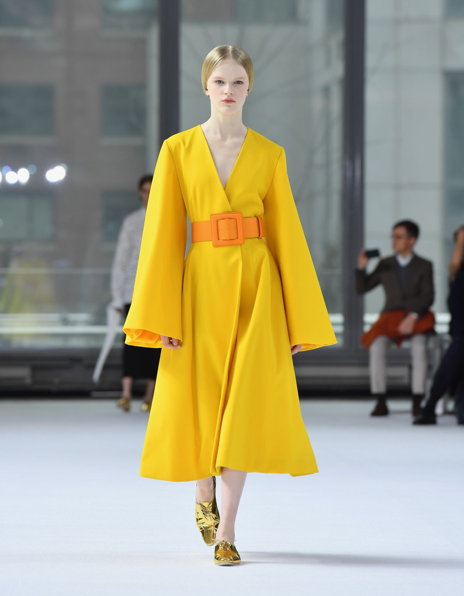 A model walks the runway for Carolina Herrera during New York Fashion Week: The Shows on February 10, 2020 in New York City. (Photo by Angela Weiss / AFP)