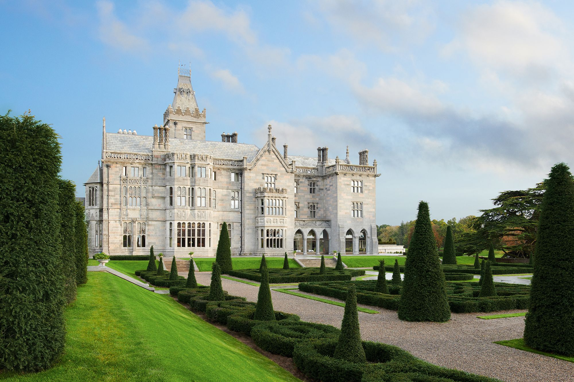 The 19th-century neo-Gothic castle-turnedluxury hotel, Adare Manor, sits amid lush woodlands, walled gardens and medieval ruins