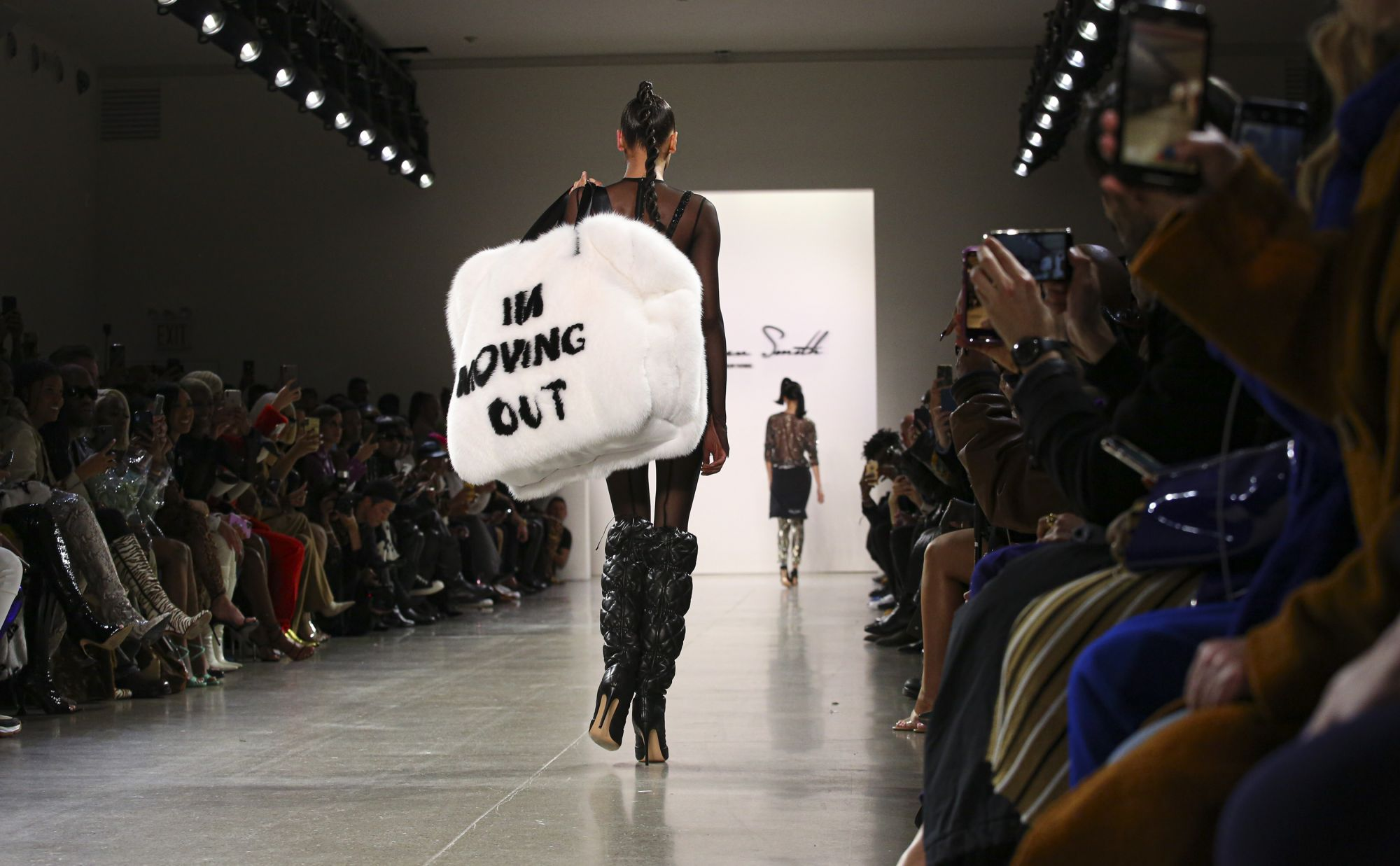 A model presents a creation for LaQuan Smith during New York Fashion Week at Spring Studios on February 8, 2020 in New York City. (Photo by Kena Betancur / AFP)
