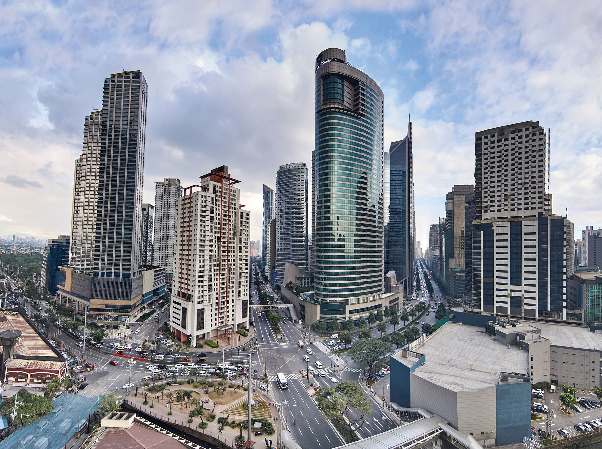 Aerial View of a Makati District, a city in the Philippines' Metro Manila region and is considered the financial, commercial and economic hub where the Philippine Stock Exchange (PSE) is located. It is also the preferred address of large multinational corporations.