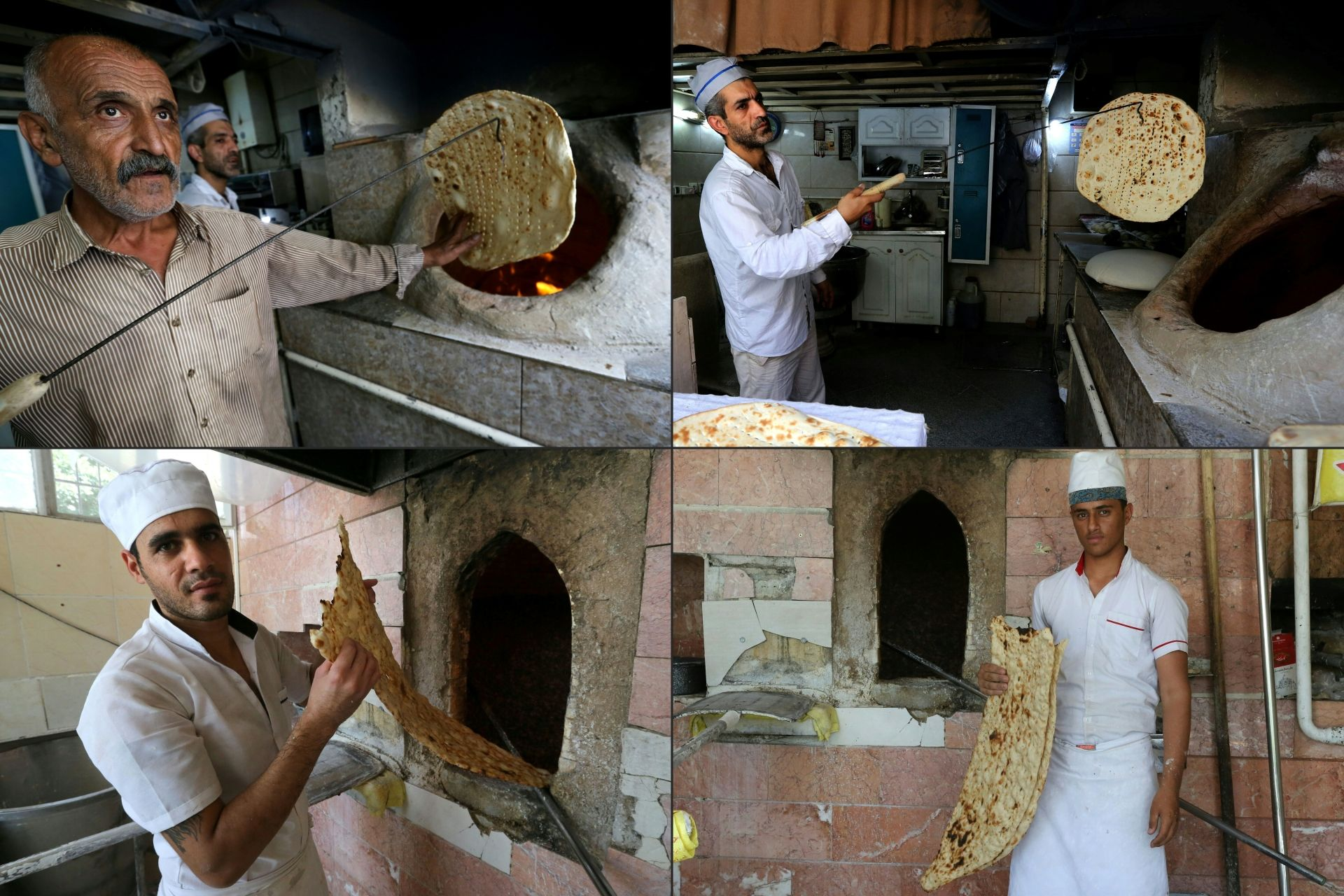 (COMBO) This combination of pictures created on June 24, 2020 shows (top) bakers Amir Jafari, 58, and Mohammad Mirzakhani, 41, making Taftoon bread; and (bottom) bakers Mohammad, 30, and Ali, 21, making Sangak bread; at separate bakeries in Iran's capital Tehran on June 13, 2020. (Photos by ATTA KENARE / AFP)