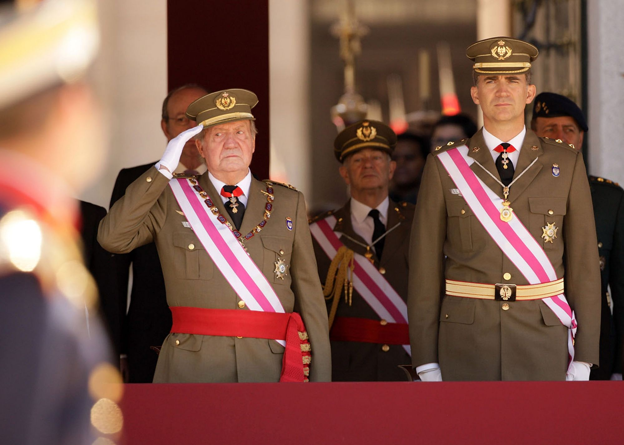 EL ESCORIAL, SPAIN - JUNE 03:  King Juan Carlos of Spain and Prince Felipe of Spain attend the biannual meeting of San Hermenegildo Order  on June 3, 2014 in El Escorial, Spain.  (Photo by Europa Press/Europa Press via Getty Images)