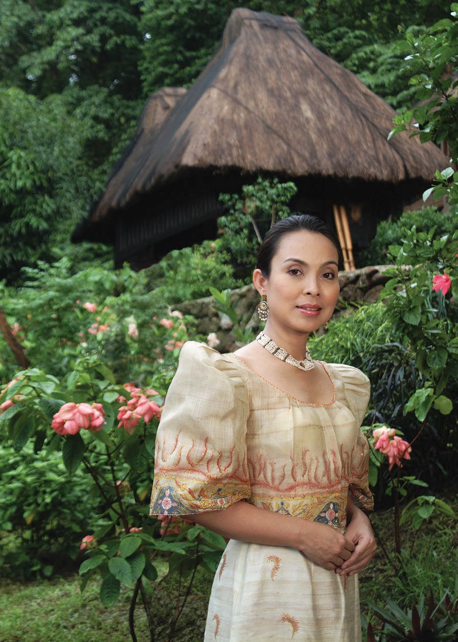 Rep Loren Legarda in a hand-painted baro't saya by Patis Tesoro on the cover story of Tatler Philippines August 2002 issue.