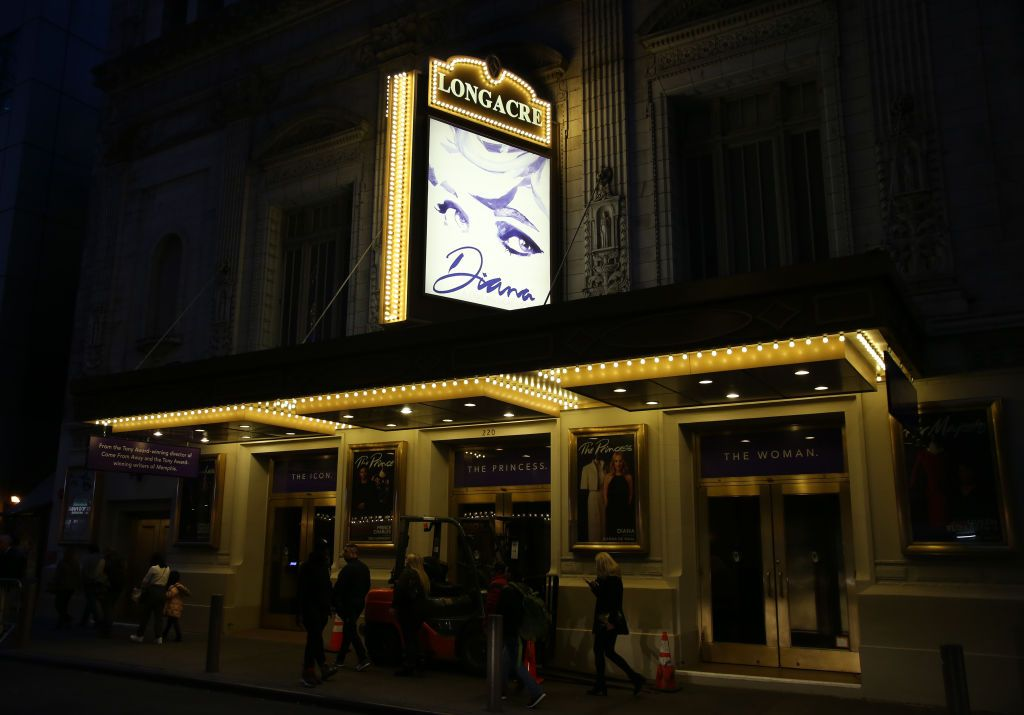 """NEW YORK, NY - JANUARY 13:  Theatre marquee for """"Diana - A True Musical Story"""", a musical about Princess Diana, at the Longacre Theatre on January 13, 2020 in New York City.  (Photo by Walter McBride/Getty Images)"""