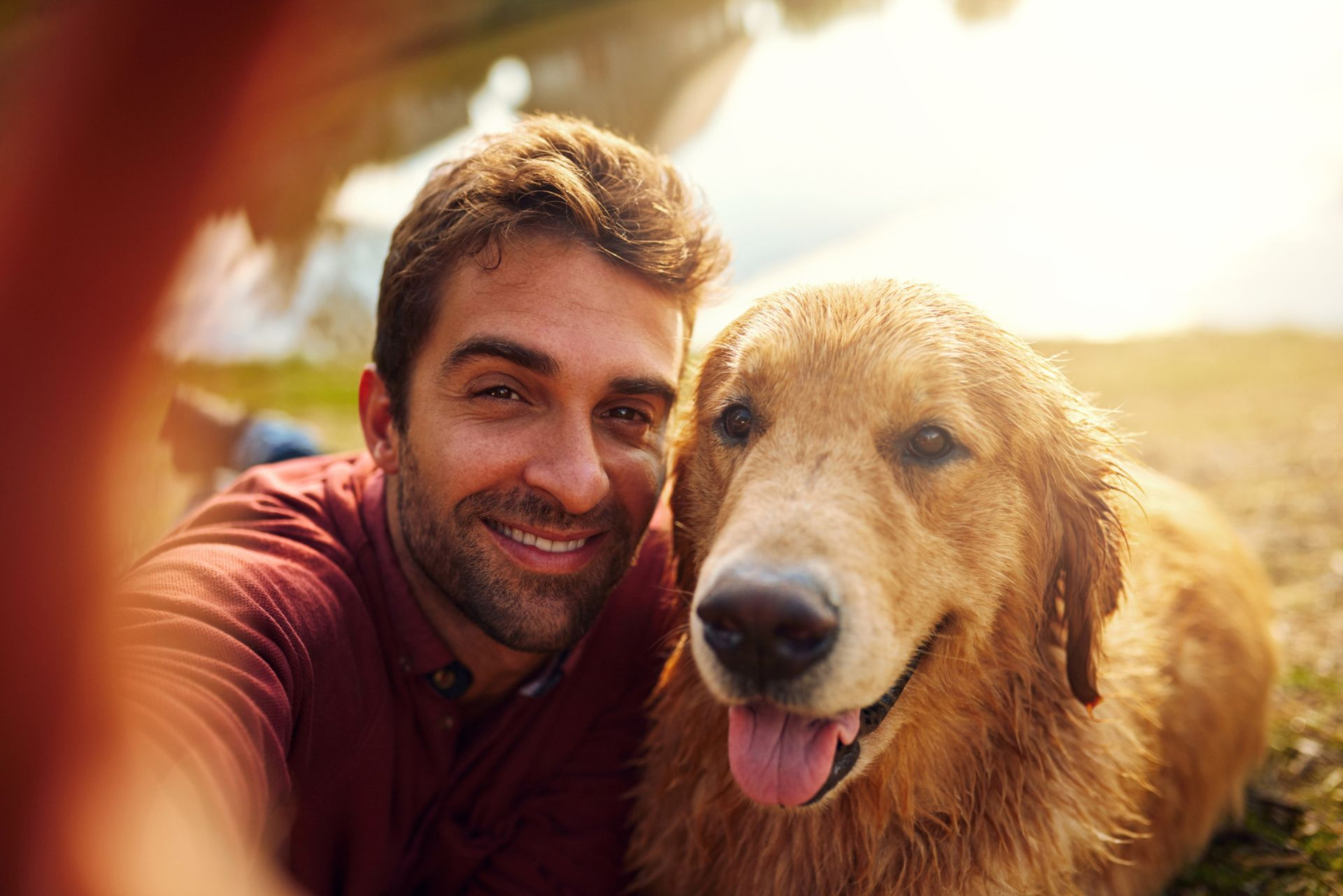 Cropped shot of a handsome young man and his dog taking selfies by a lake in the park