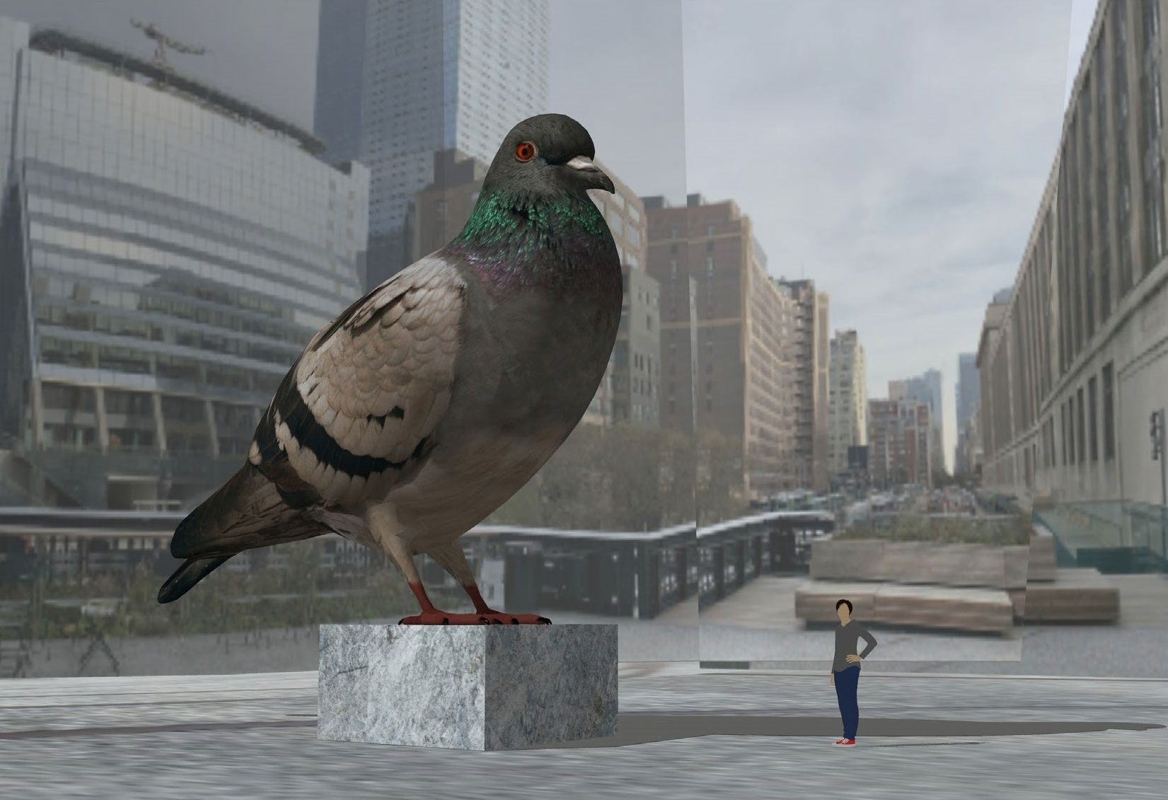 New York's High Line Will Innovate Its Future Art Installations With A Coffee Cup, Giant Pigeon, QR Code