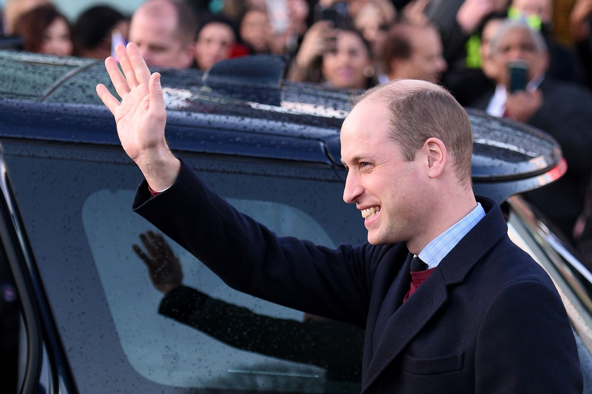 (FILES) In this file photo taken on January 15, 2020 Britain's Prince William, Duke of Cambridge gestures as he leaves after a visit to the Khidmat Centre, Bradford to learn about the activities and workshops offered by the centre. - The prestigious TED talks series is to hold its first-ever free live event next month, with Prince William and other prominent figures calling for action on climate change, the group announced September 14, 2020. (Photo by Oli SCARFF / AFP)