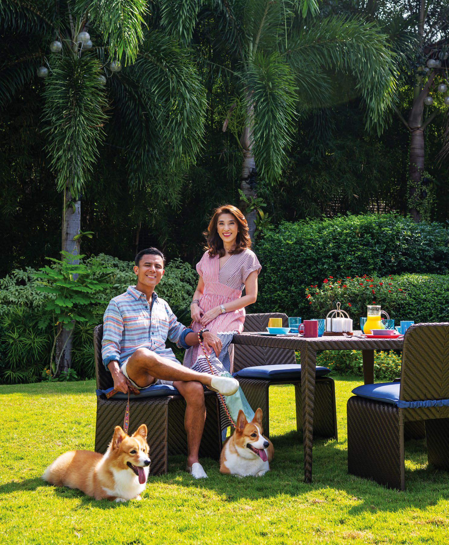 The couple spend their weekends in Alabang with their brood of corgies
