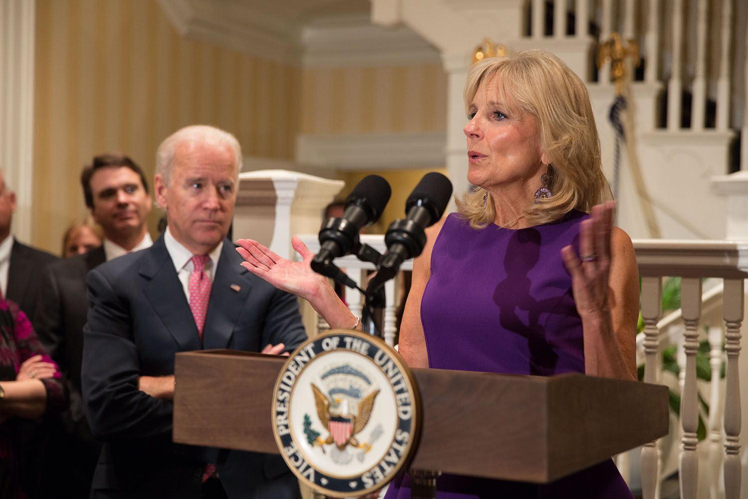 Dr. Jill Biden gives remarks at a breast cancer awareness month reception with Vice President Joe Biden, in the living room at the Naval Observatory Residence in Washington, D.C., Nov. 5, 2013. (Official White House Photo by David Lienemann)