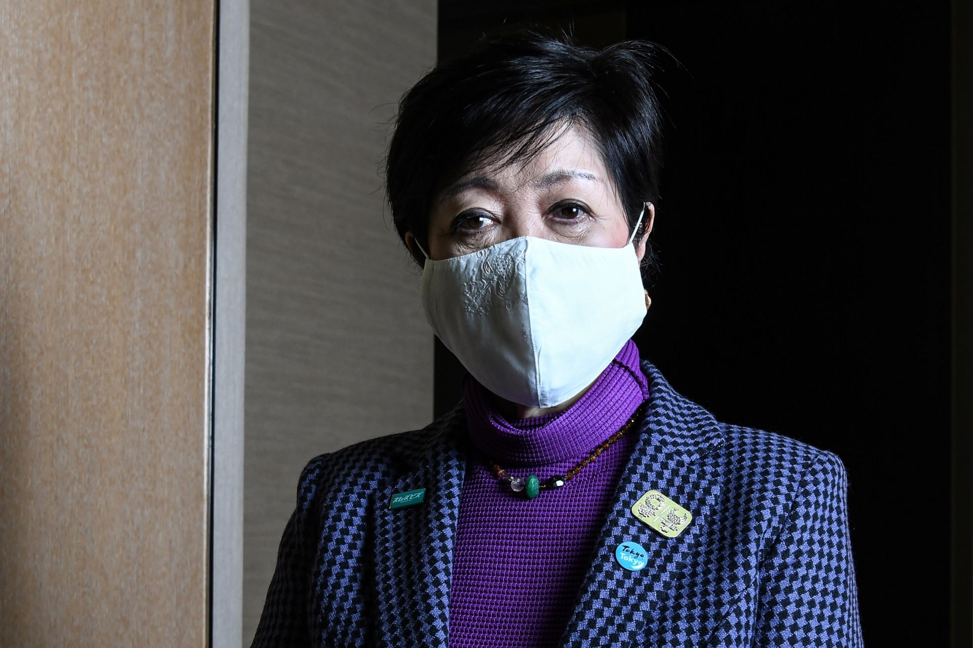 """Tokyo Governor Yuriko Koike poses before an interview with AFP in Tokyo on December 15, 2020, where she said she sees """"no circumstances"""" under which virus-postponed Tokyo 2020 Olympics will be cancelled. (Photo by Charly TRIBALLEAU / AFP)"""