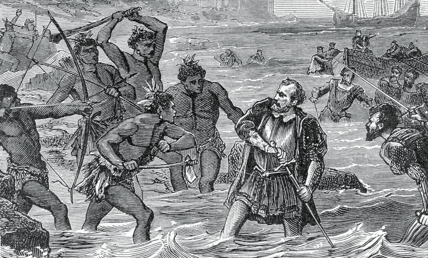 1521, Portuguese navigator Ferdinand Magellan (c. 1480-1521) drawing his sword while engaged in a battle against natives. Leader of the first expedition to circumnavigate the globe, Magellan left Seville in 1519 and sailed through the strait named after him to (Photo by Archive Photos/Getty Images)