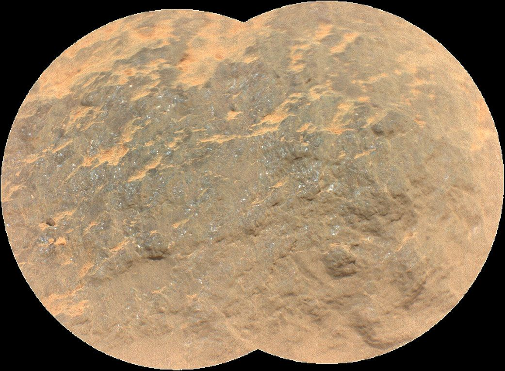 """Combining two images, this mosaic shows a close-up view of the rock target named """"Yeehgo"""" from the SuperCam instrument on NASA's Perseverance rover on Mars. The component images were taken by SuperCam's Remote Micro-Imager (RMI). To be compatible with the rover's software, """"Yeehgo"""" is an alternative spelling of """"Yéigo,"""" the Navajo word for diligent."""