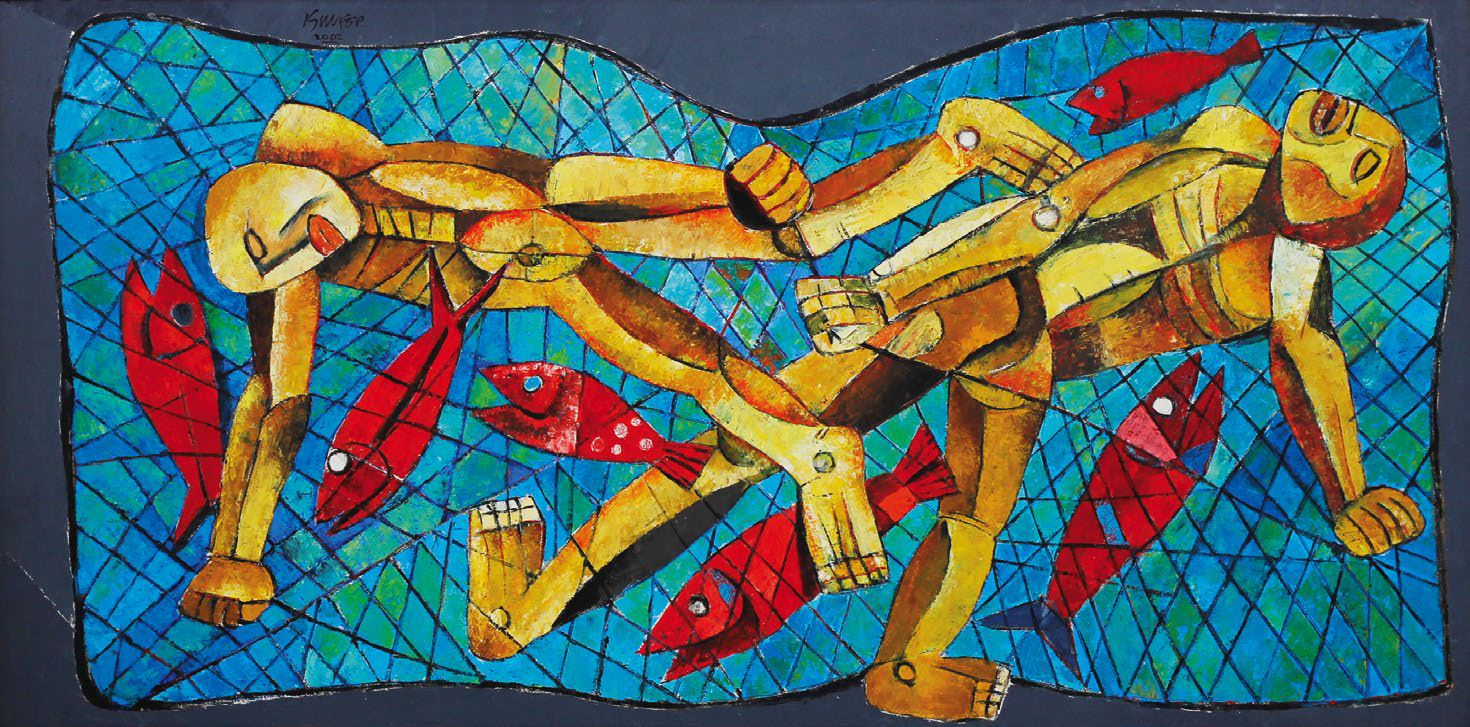 """Fishermen, oil on canvas, 2002, 24"""" x 48"""". Image courtesy of Leon Gallery."""