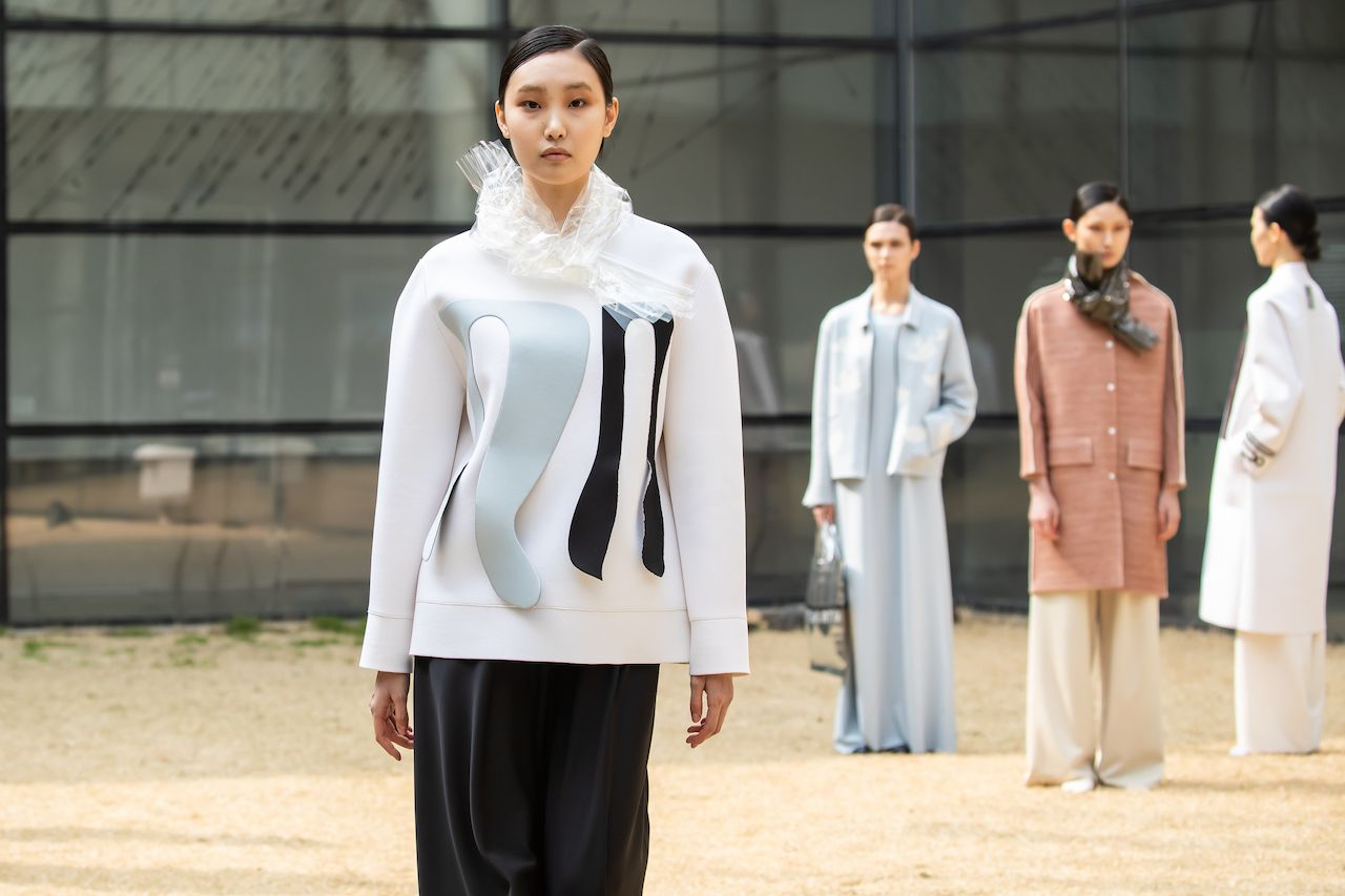 SEOUL, SOUTH KOREA - MARCH 15: In this image released on March 27, 2021, models showcase designs by PARTsPARTs in a prerecorded runway show as a part of Seoul Fashion Week 2021 AW on March 15, 2021 in Seoul, South Korea. (Photo by Justin Shin/Getty Images)
