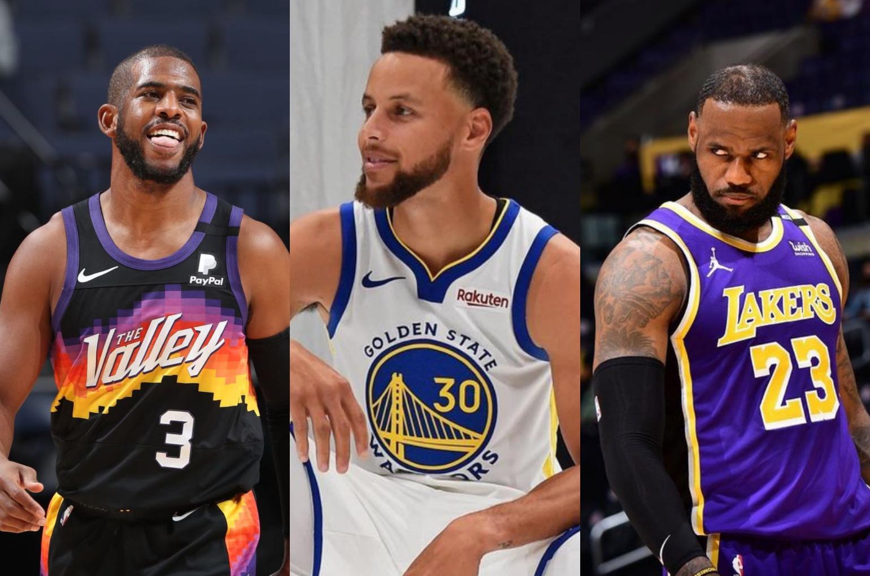 (L-R) Chris Paul, Stephen Curry, Lebron James. | Photo: Instagram