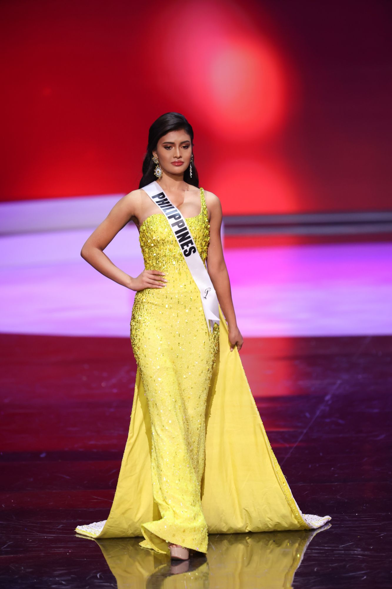 HOLLYWOOD, FLORIDA - MAY 14: Miss Philippines Rabiya Mateo appears onstage at the Miss Universe 2021  Preliminary Competition at Seminole Hard Rock Hotel & Casino on May 14, 2021 in Hollywood, Florida. (Photo by Rodrigo Varela/Getty Images)
