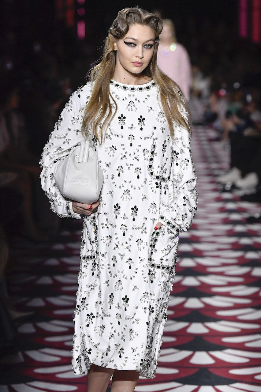 PARIS, FRANCE - MARCH 03: Gigi Hadid walks the runway at the Miu Miu Ready to Wear fashion show as part of the Paris Fashion Week Womenswear Fall/Winter 2020-2021 on March 03, 2020 in Paris, France. (Photo by Victor VIRGILE/Gamma-Rapho via Getty Images)