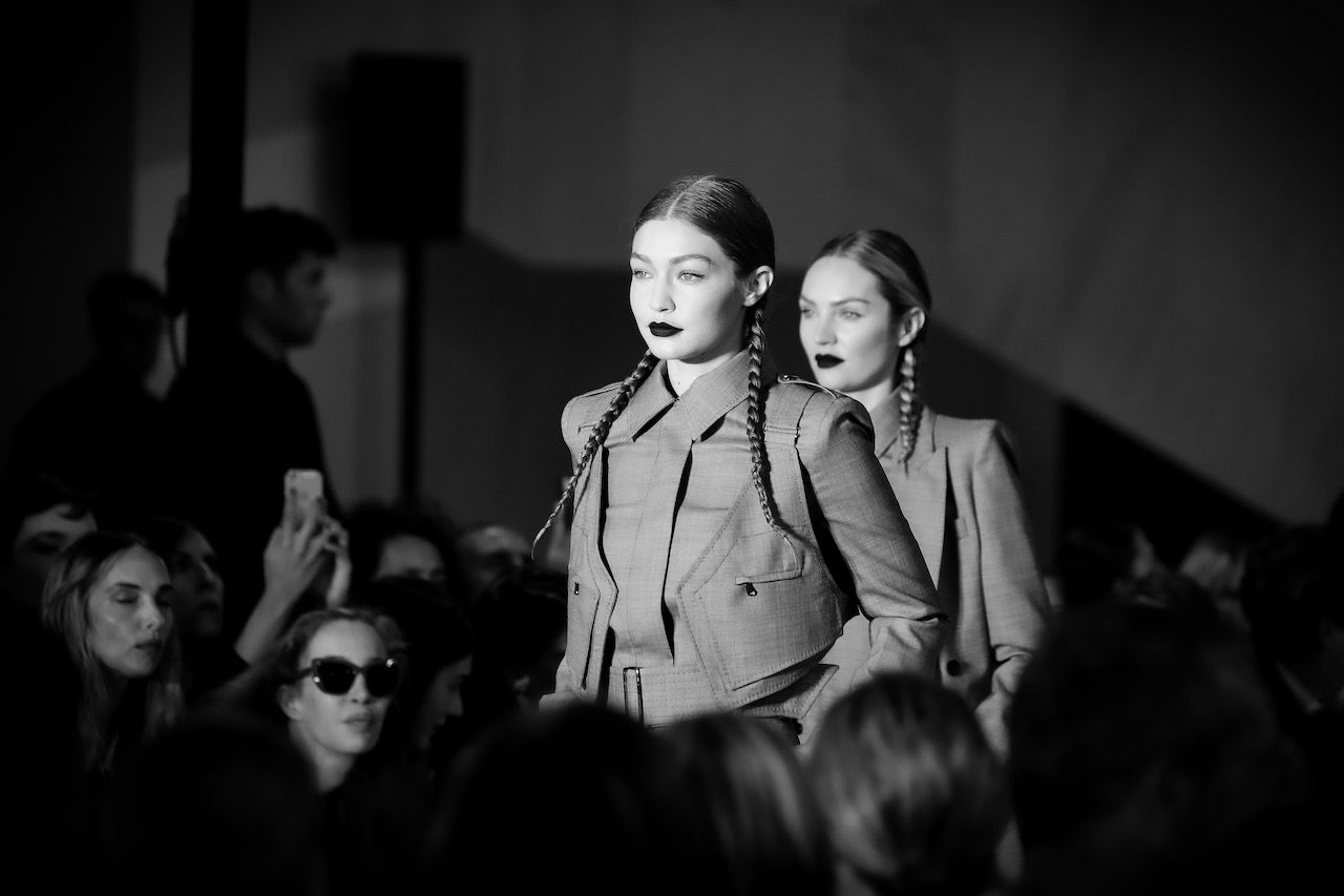 MILAN, ITALY - SEPTEMBER 19: (EDITORS NOTE: Image has been converted to black and white.) Gigi Hadid walks the runway during the Max Mara show during the Milan Fashion Week Spring/Summer 2020 on September 19, 2019 in Milan, Italy. (Photo by Andreas Rentz/Getty Images)